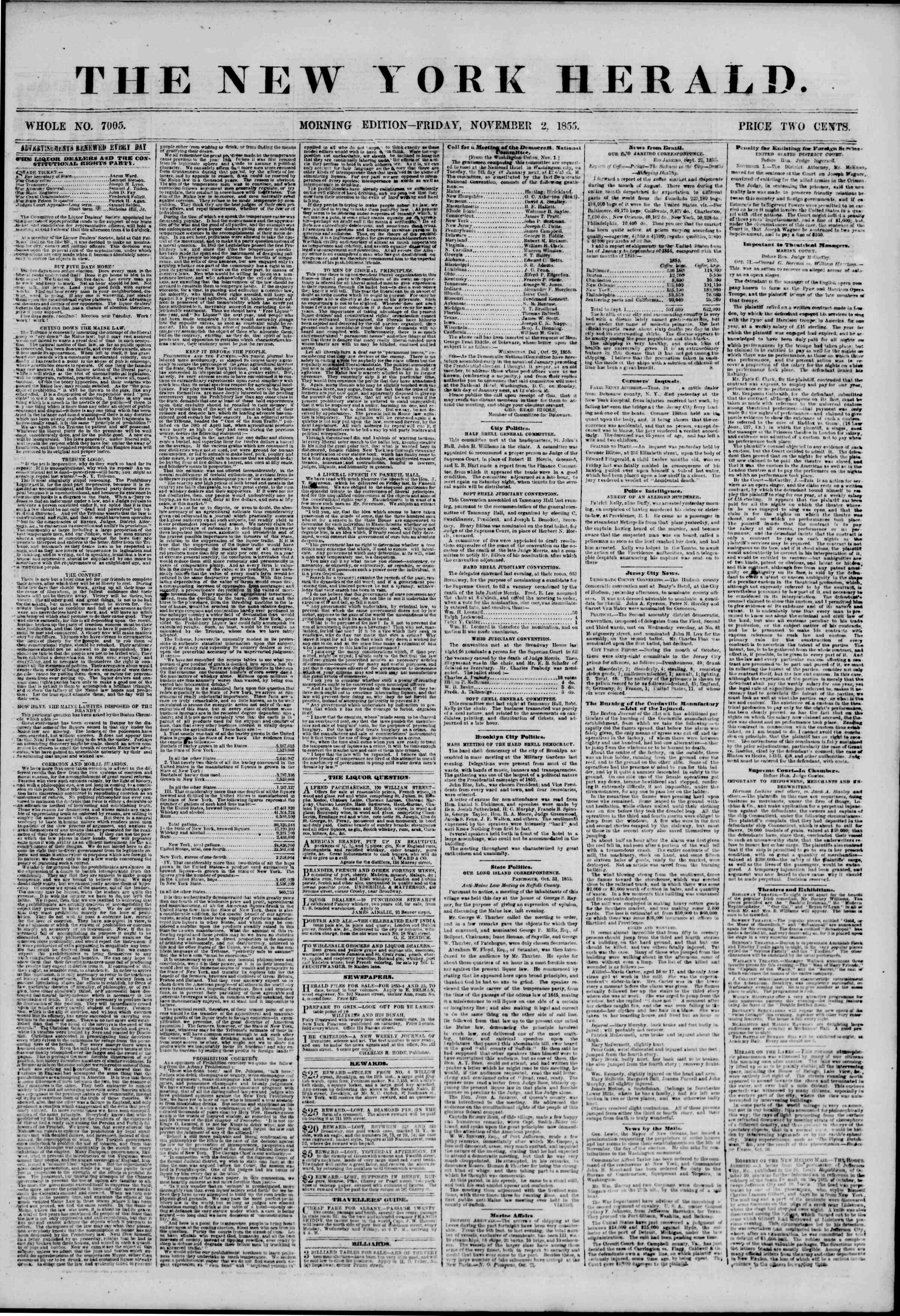 Newspaper of The New York Herald dated November 2, 1855 Page 1