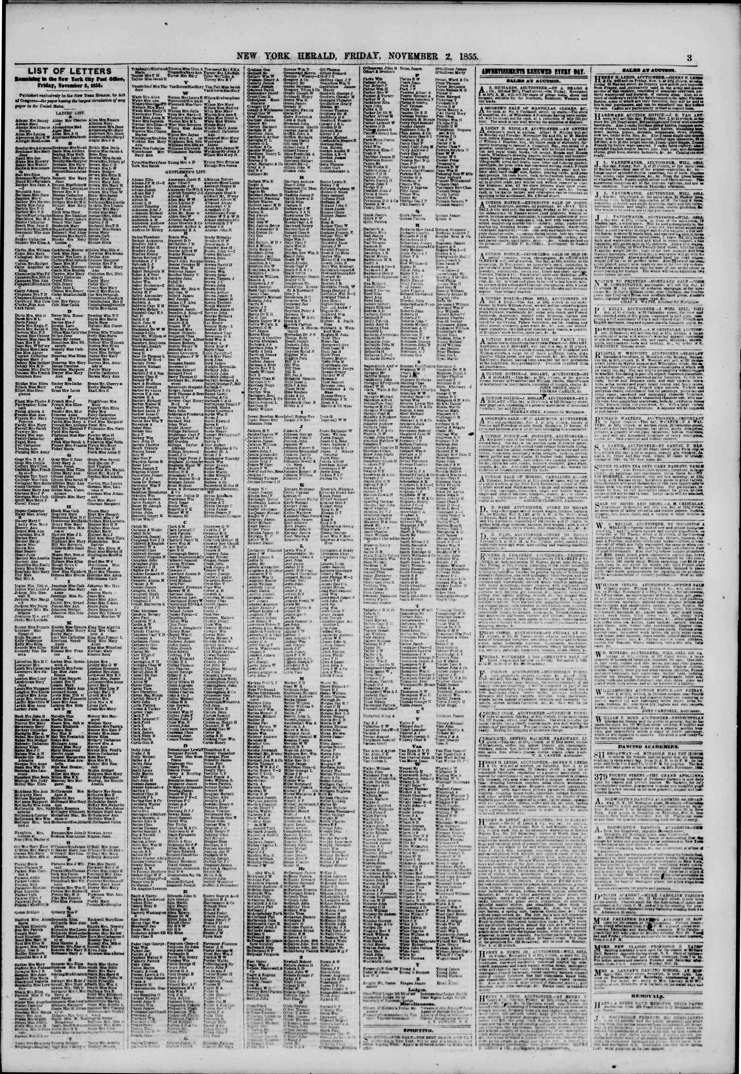 Newspaper of The New York Herald dated November 2, 1855 Page 3