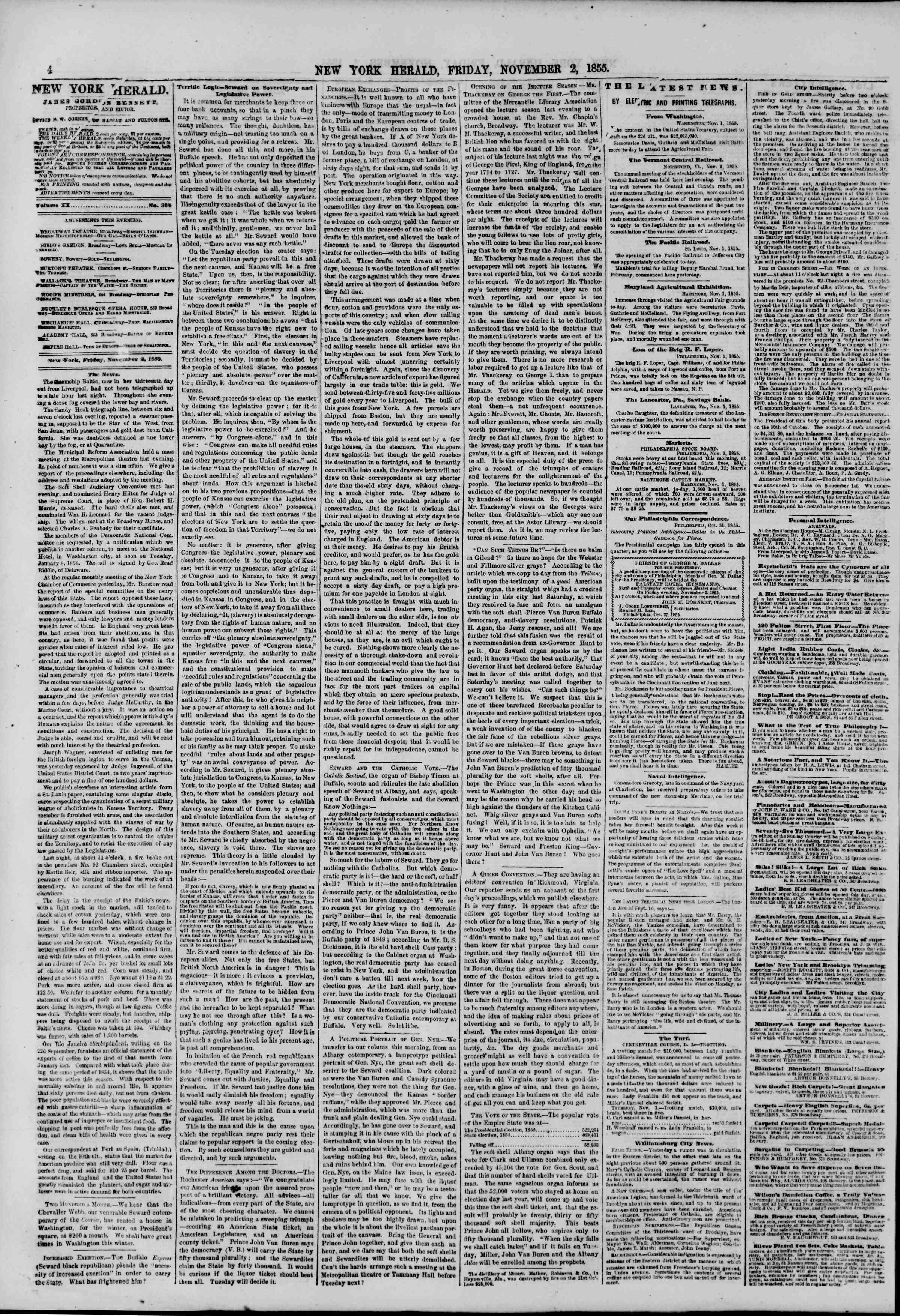 Newspaper of The New York Herald dated November 2, 1855 Page 4