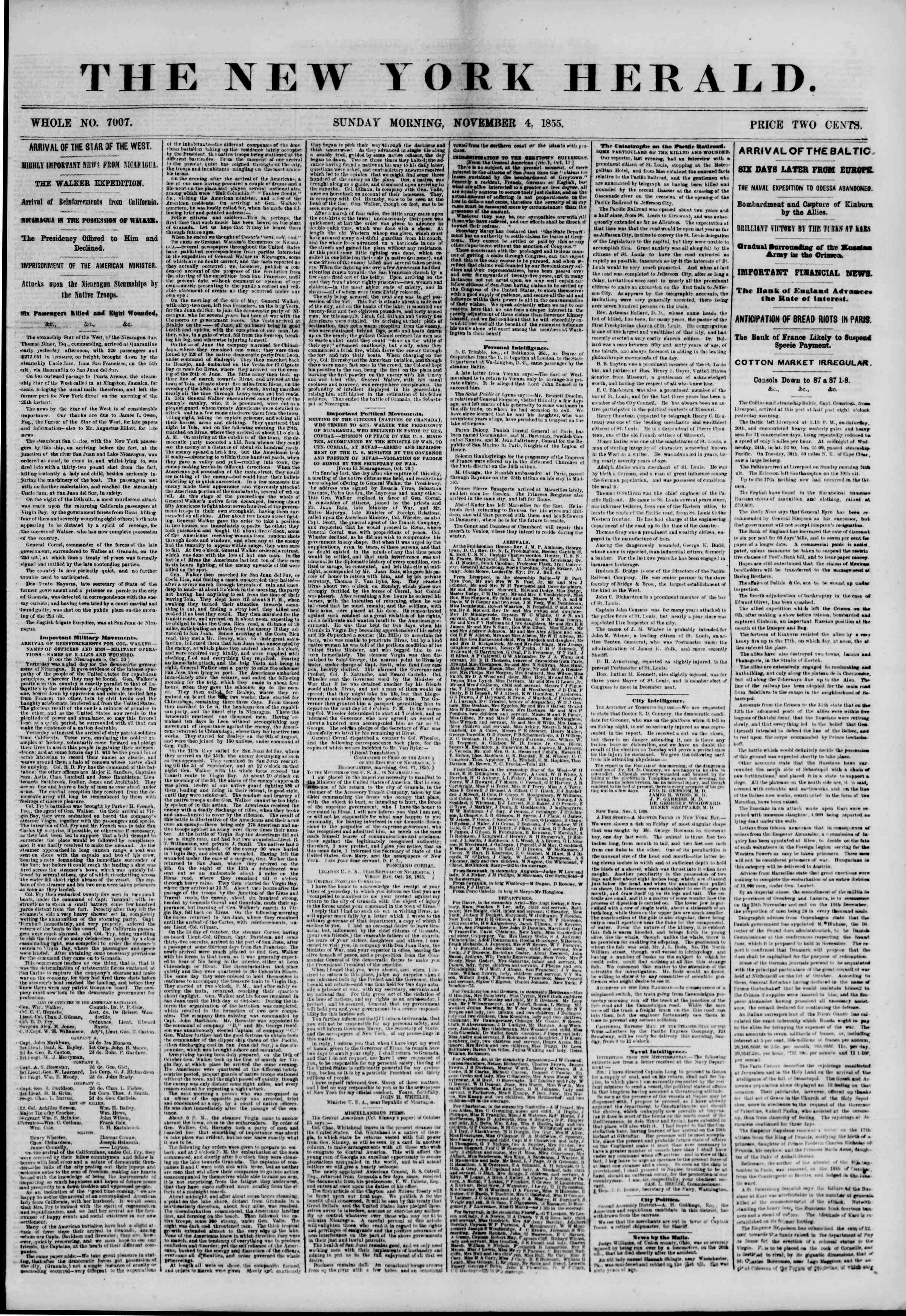 Newspaper of The New York Herald dated November 4, 1855 Page 1