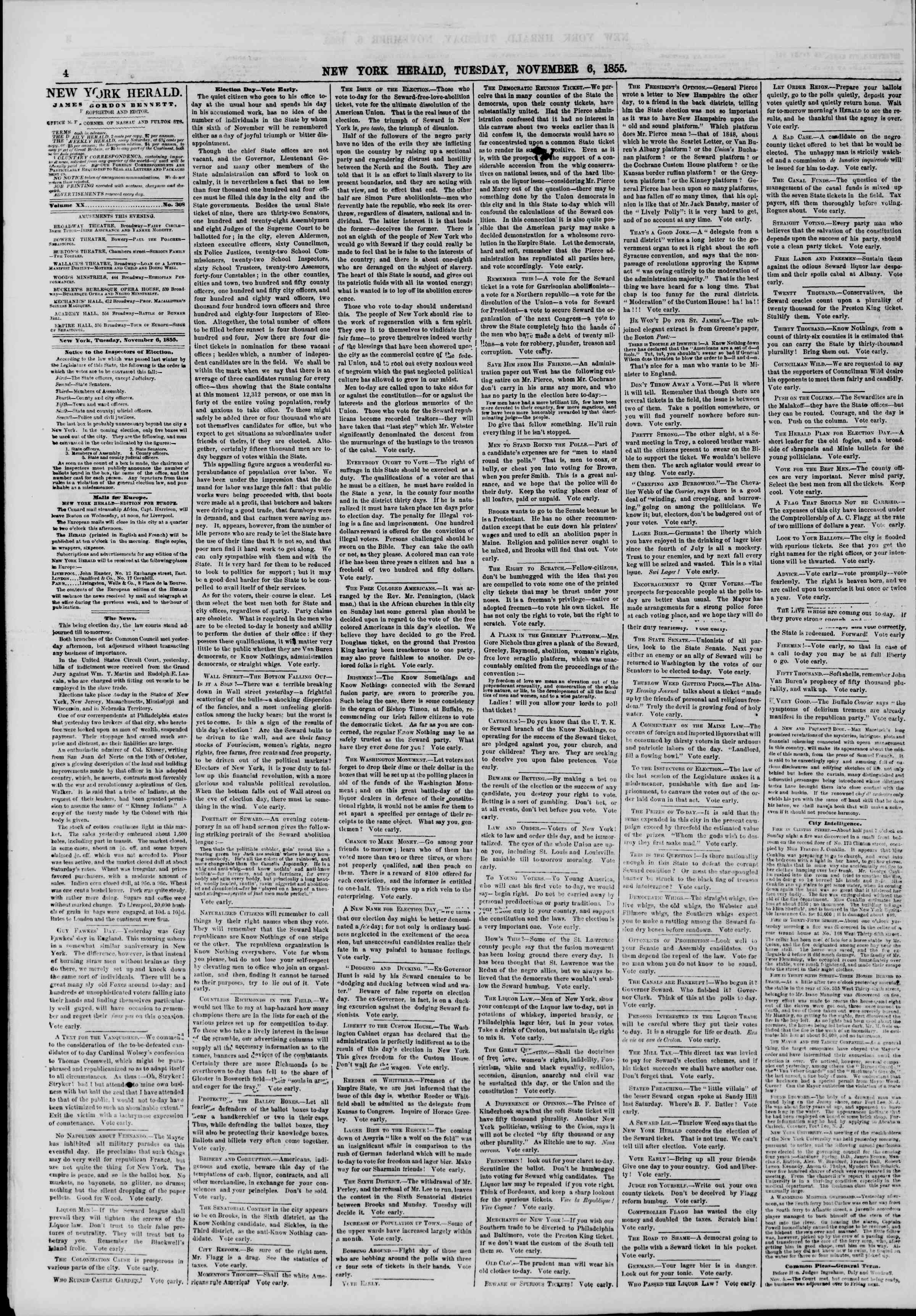 Newspaper of The New York Herald dated November 6, 1855 Page 4