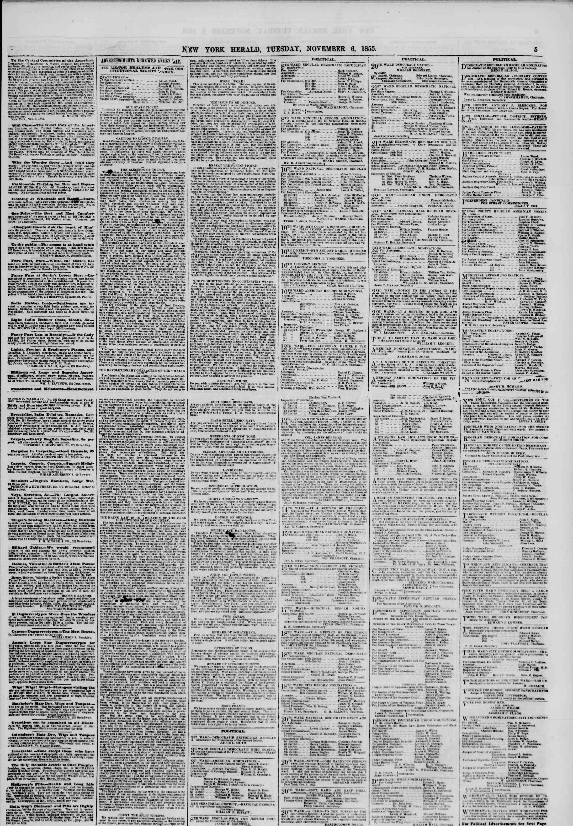 Newspaper of The New York Herald dated November 6, 1855 Page 5