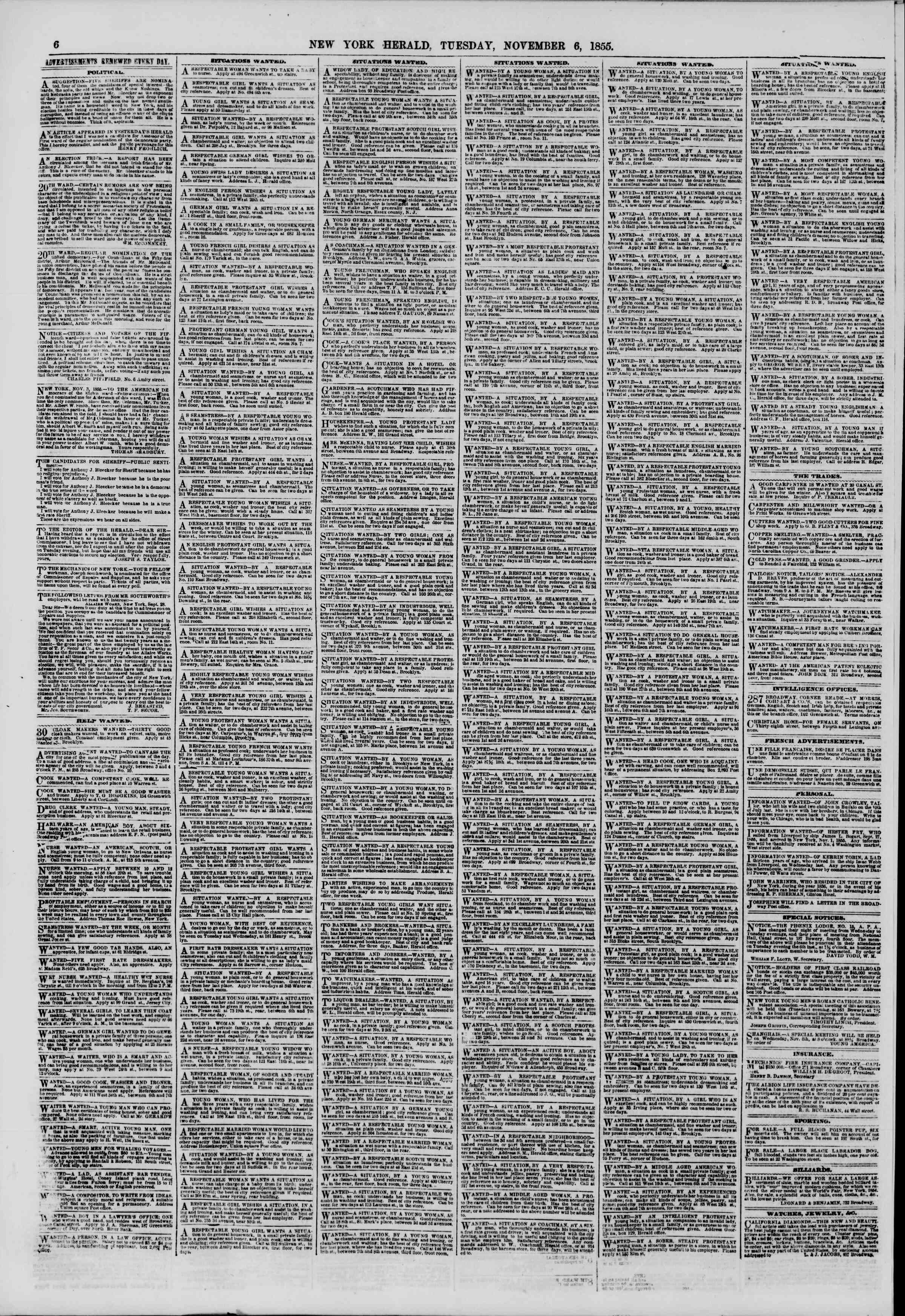 Newspaper of The New York Herald dated November 6, 1855 Page 6