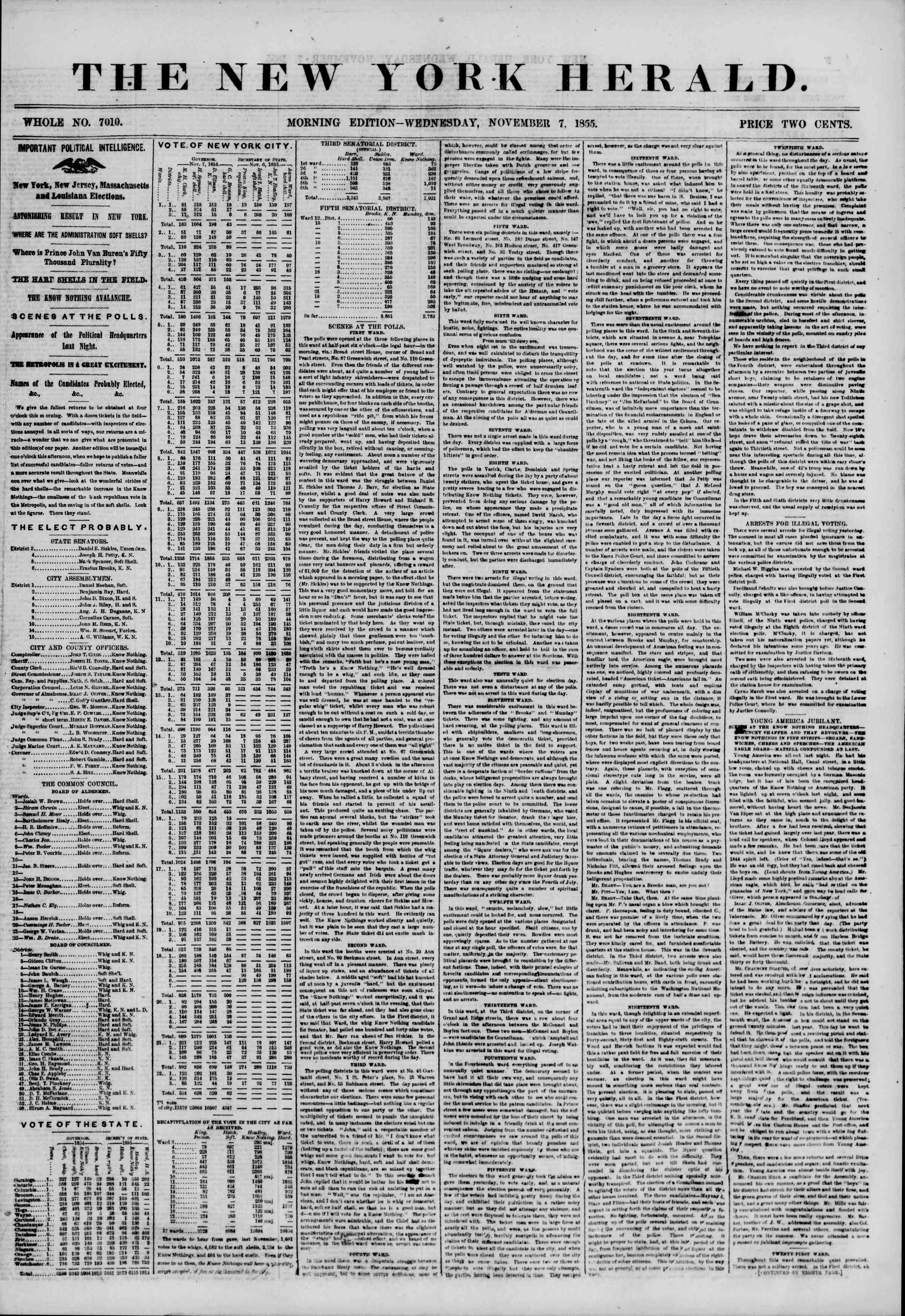 Newspaper of The New York Herald dated November 7, 1855 Page 1