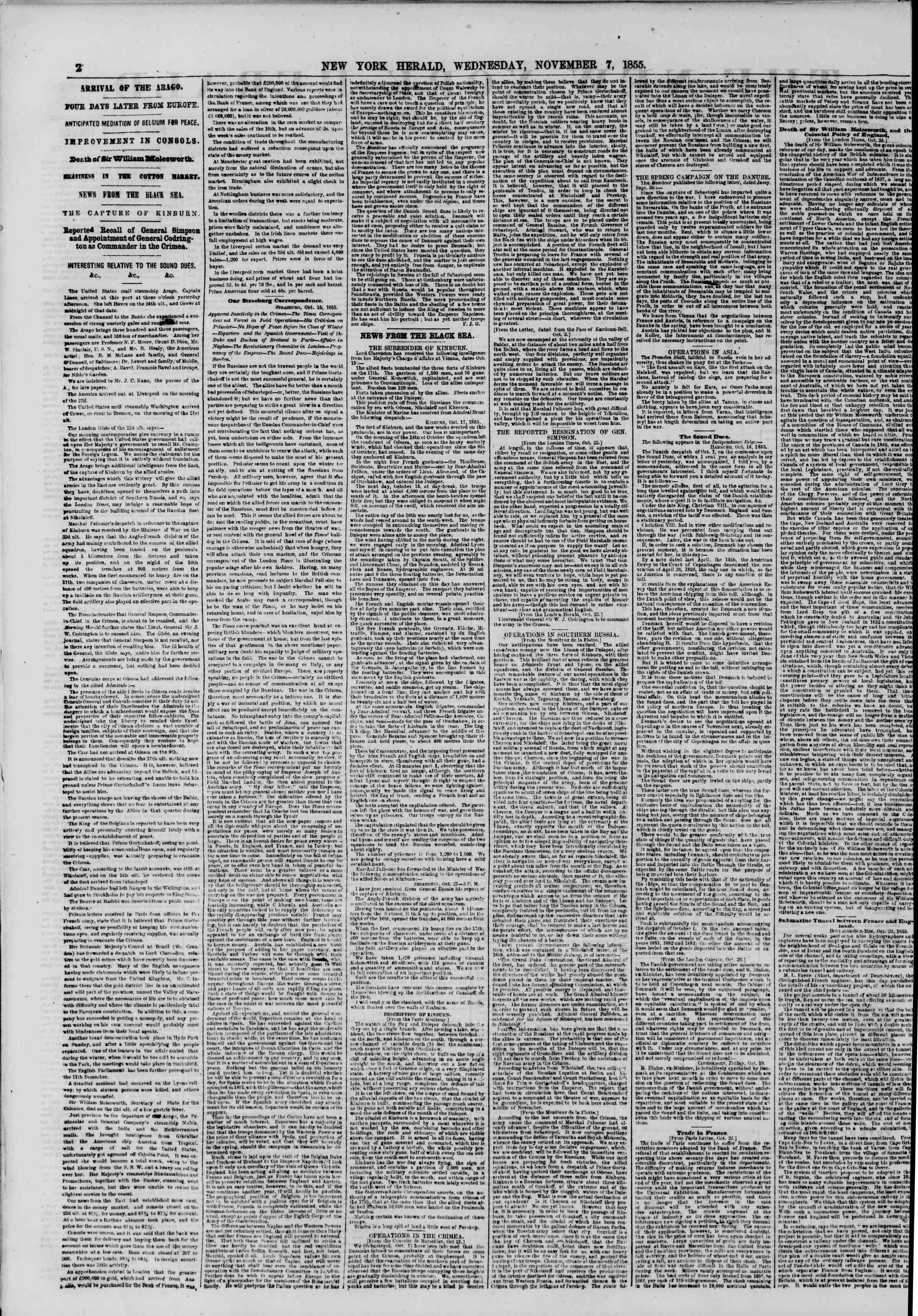 Newspaper of The New York Herald dated November 7, 1855 Page 2
