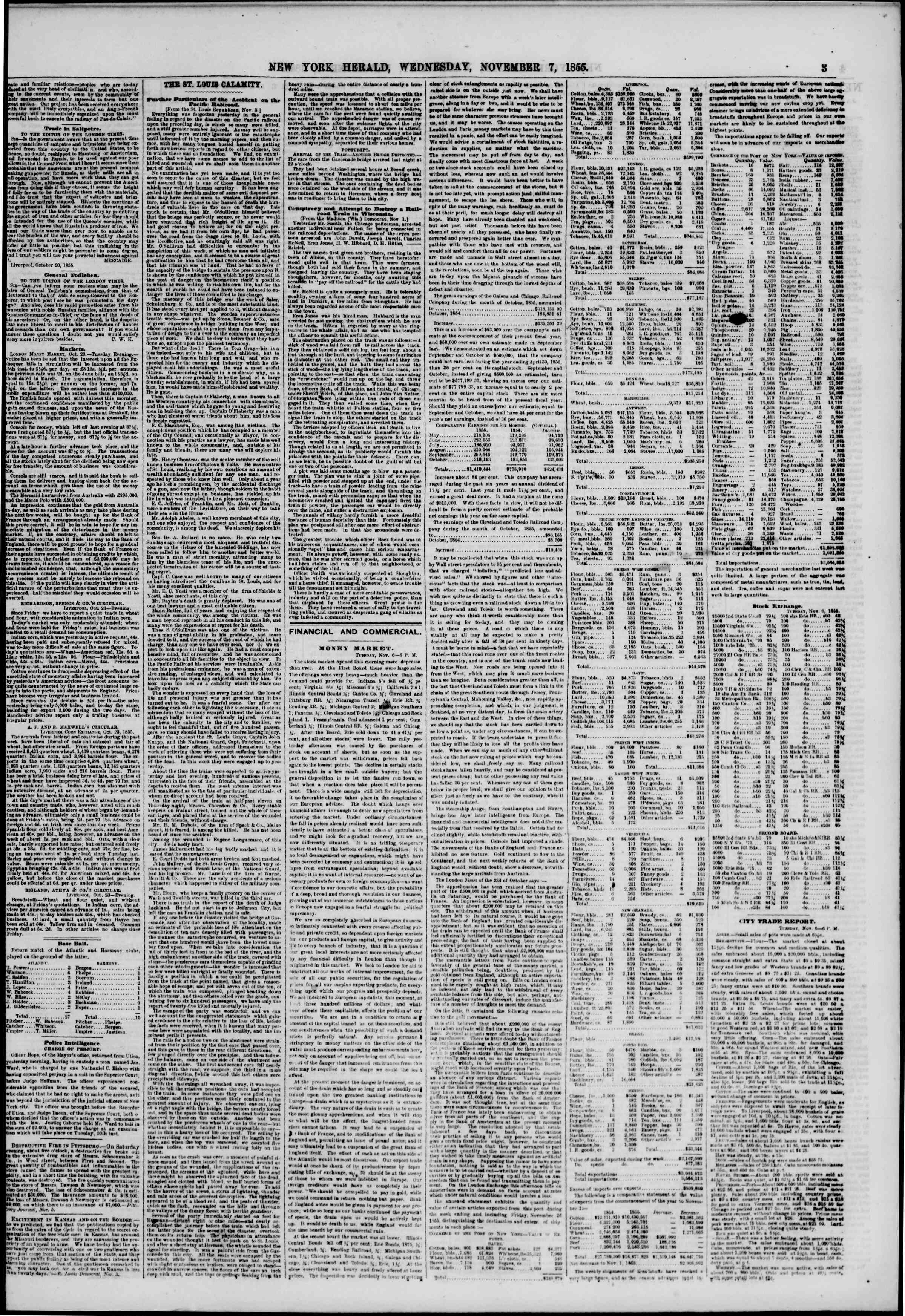 Newspaper of The New York Herald dated November 7, 1855 Page 3