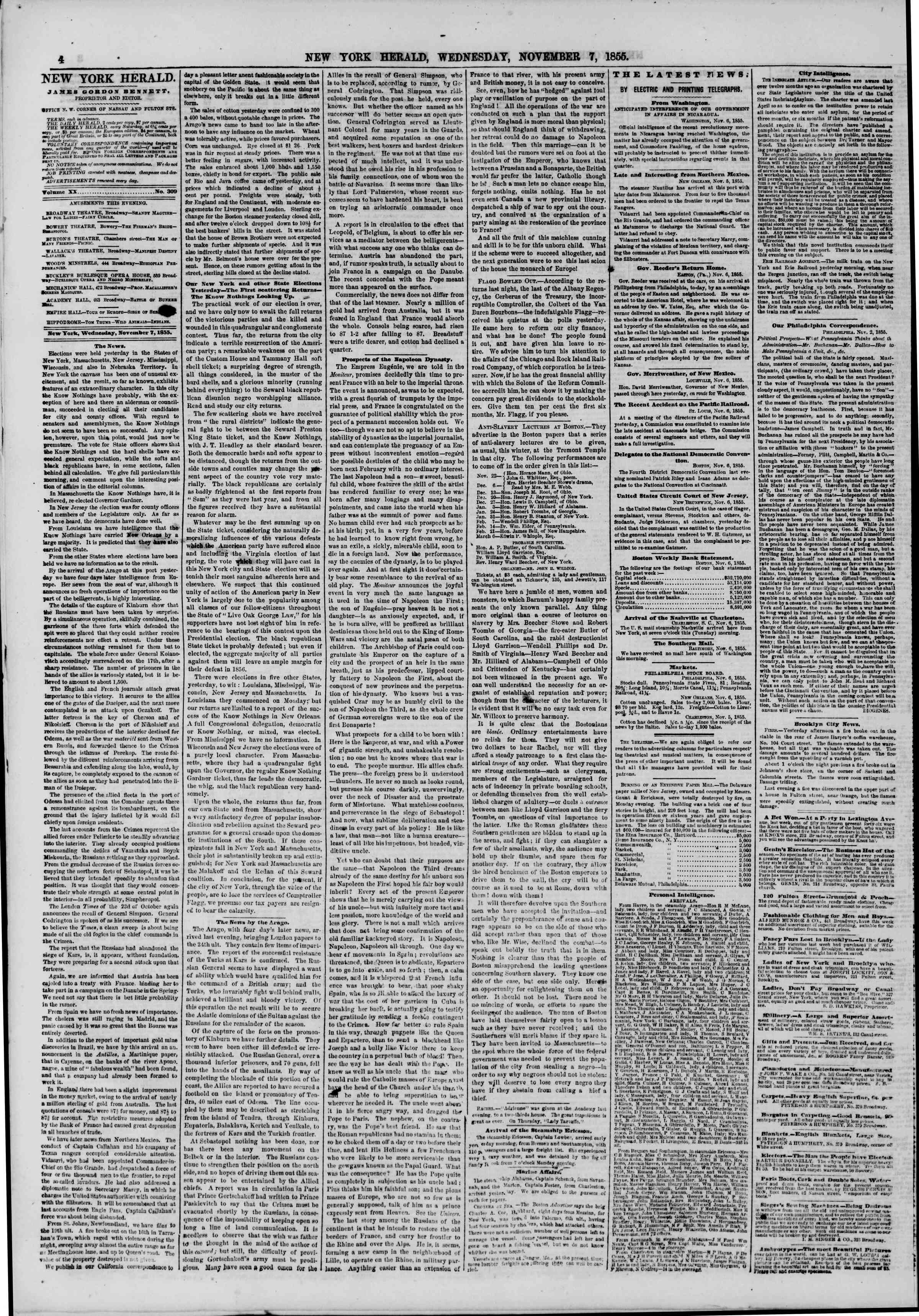 Newspaper of The New York Herald dated November 7, 1855 Page 4