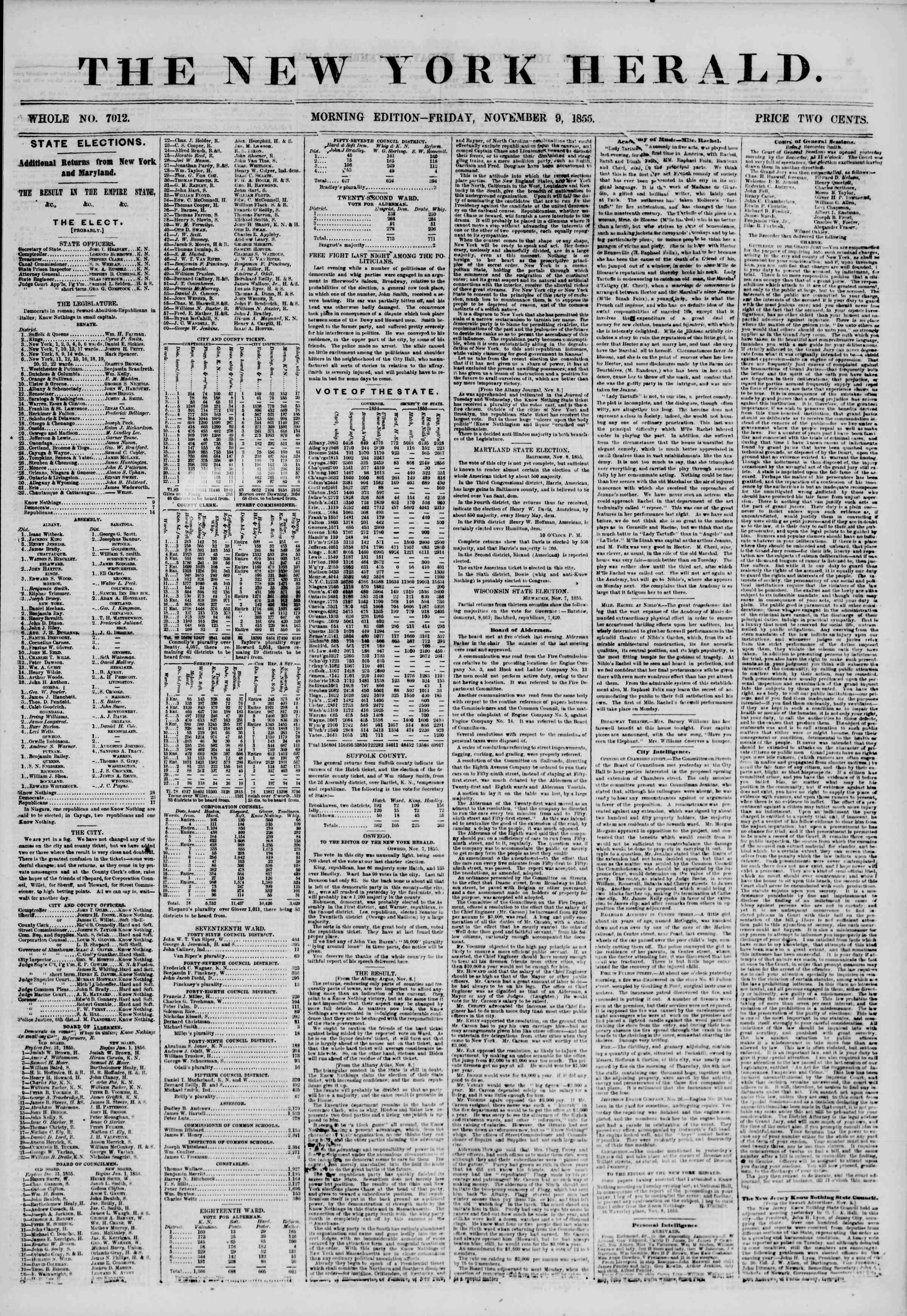 Newspaper of The New York Herald dated November 9, 1855 Page 1