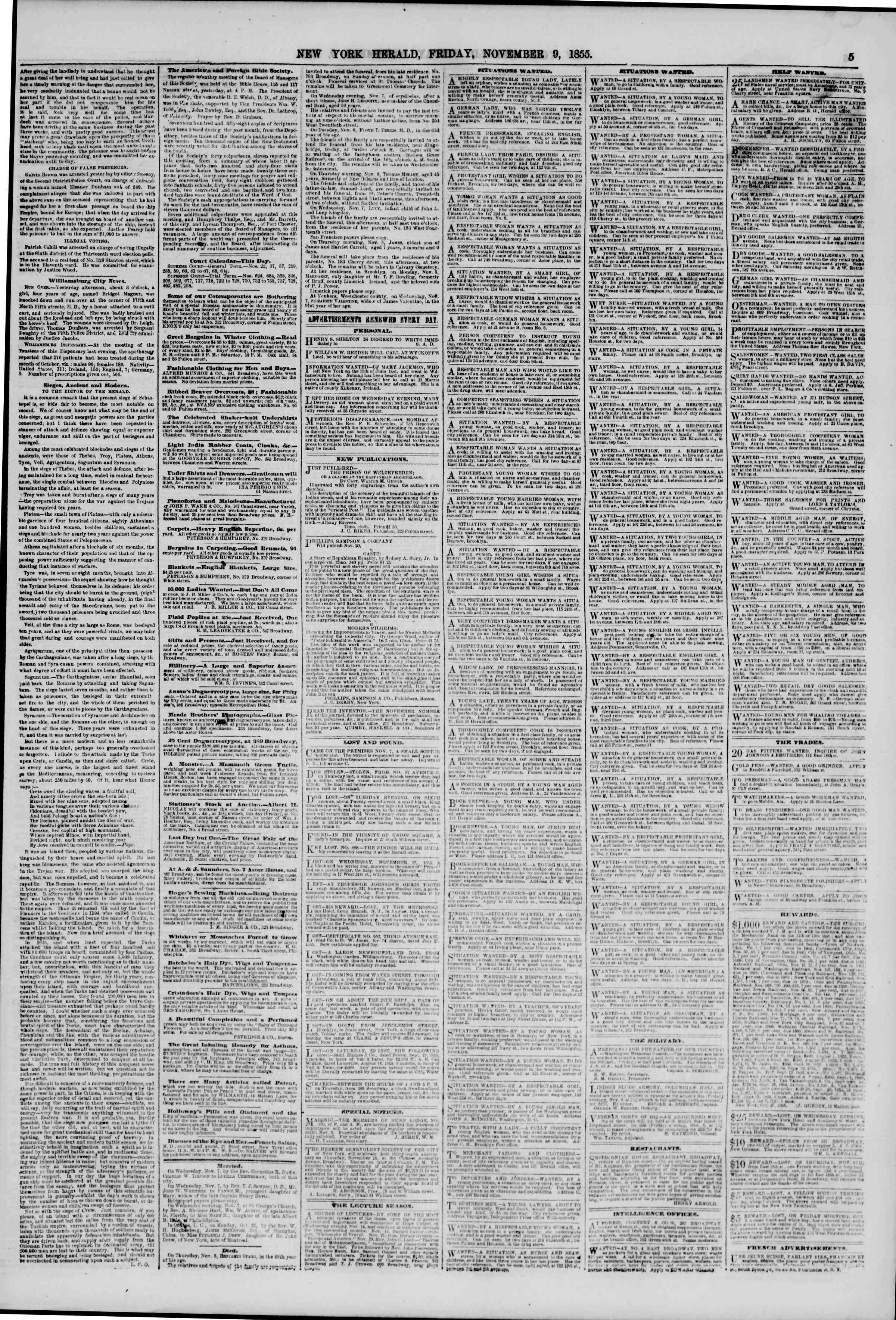 Newspaper of The New York Herald dated November 9, 1855 Page 5
