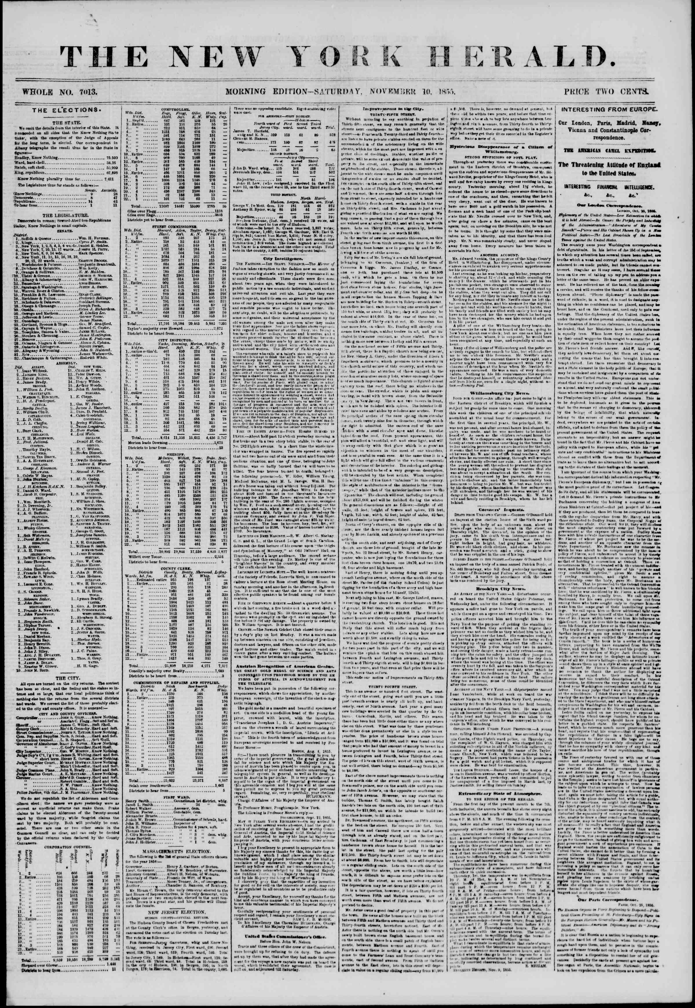 Newspaper of The New York Herald dated November 10, 1855 Page 1