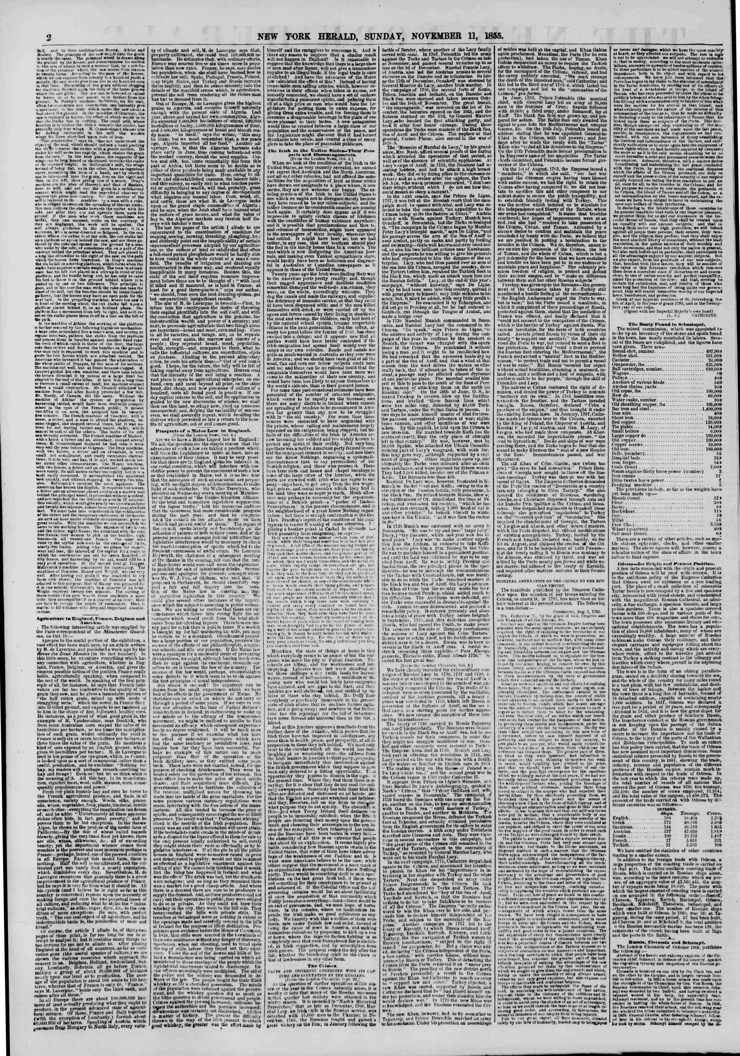 Newspaper of The New York Herald dated November 11, 1855 Page 2