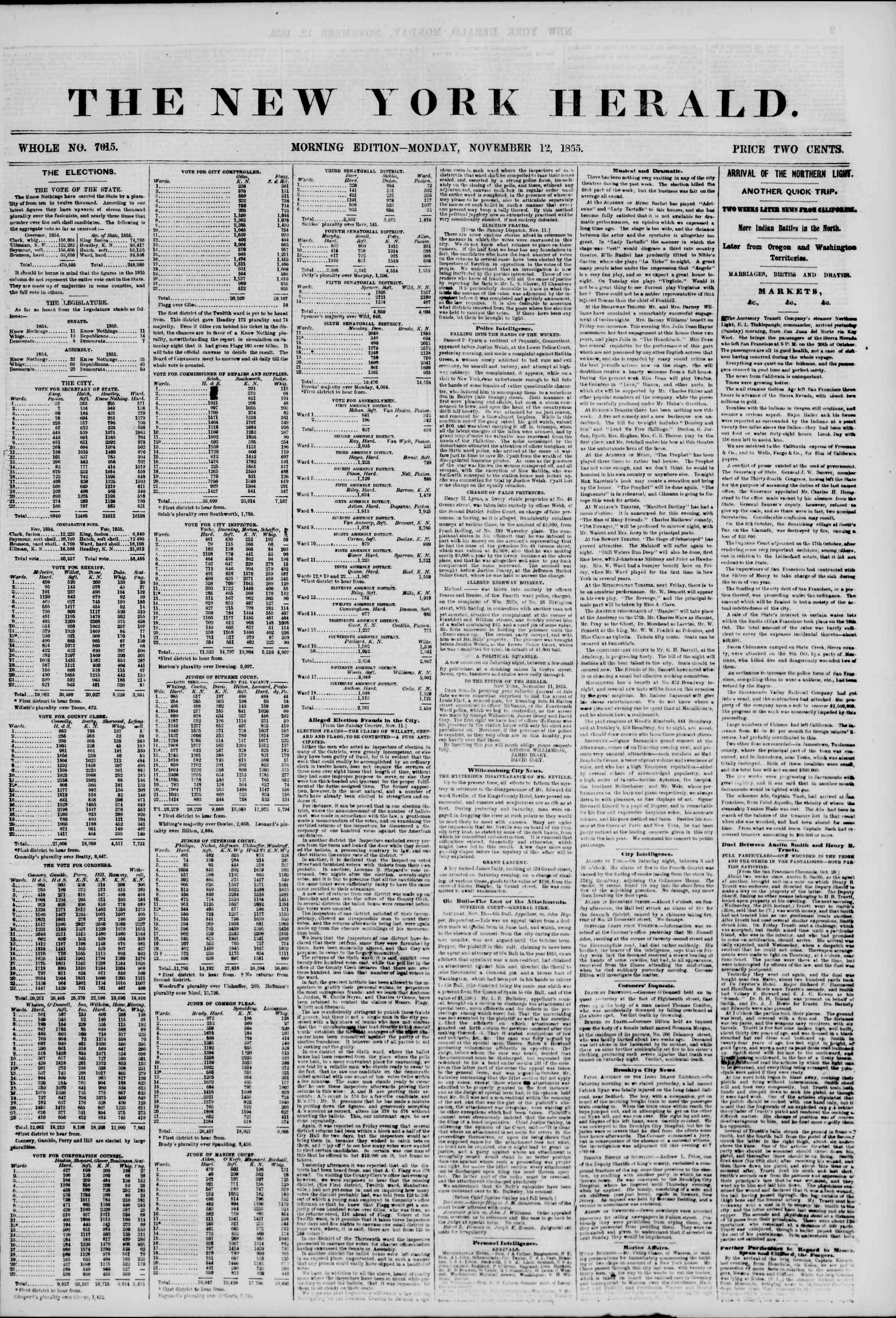 Newspaper of The New York Herald dated November 12, 1855 Page 1