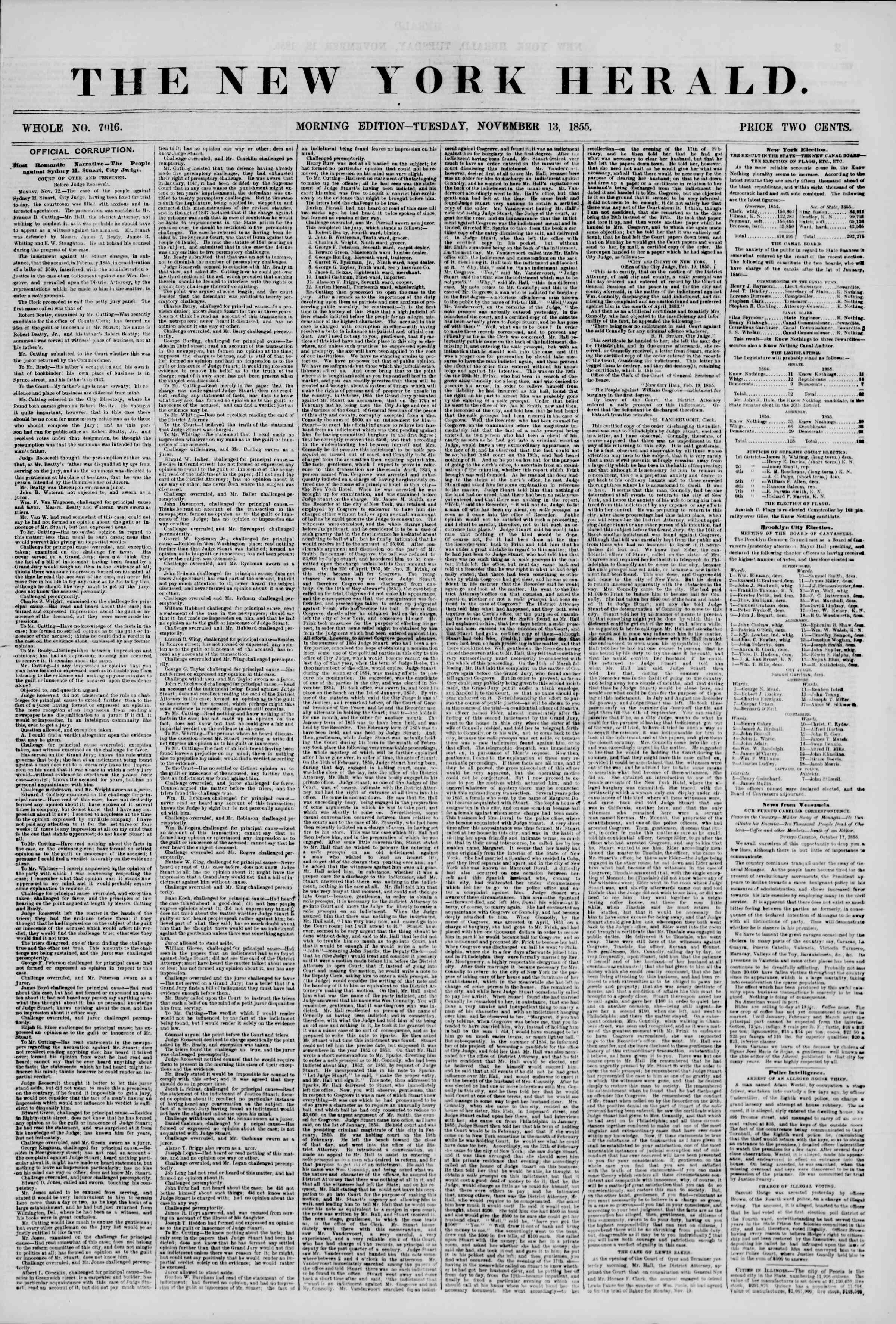 Newspaper of The New York Herald dated November 13, 1855 Page 1