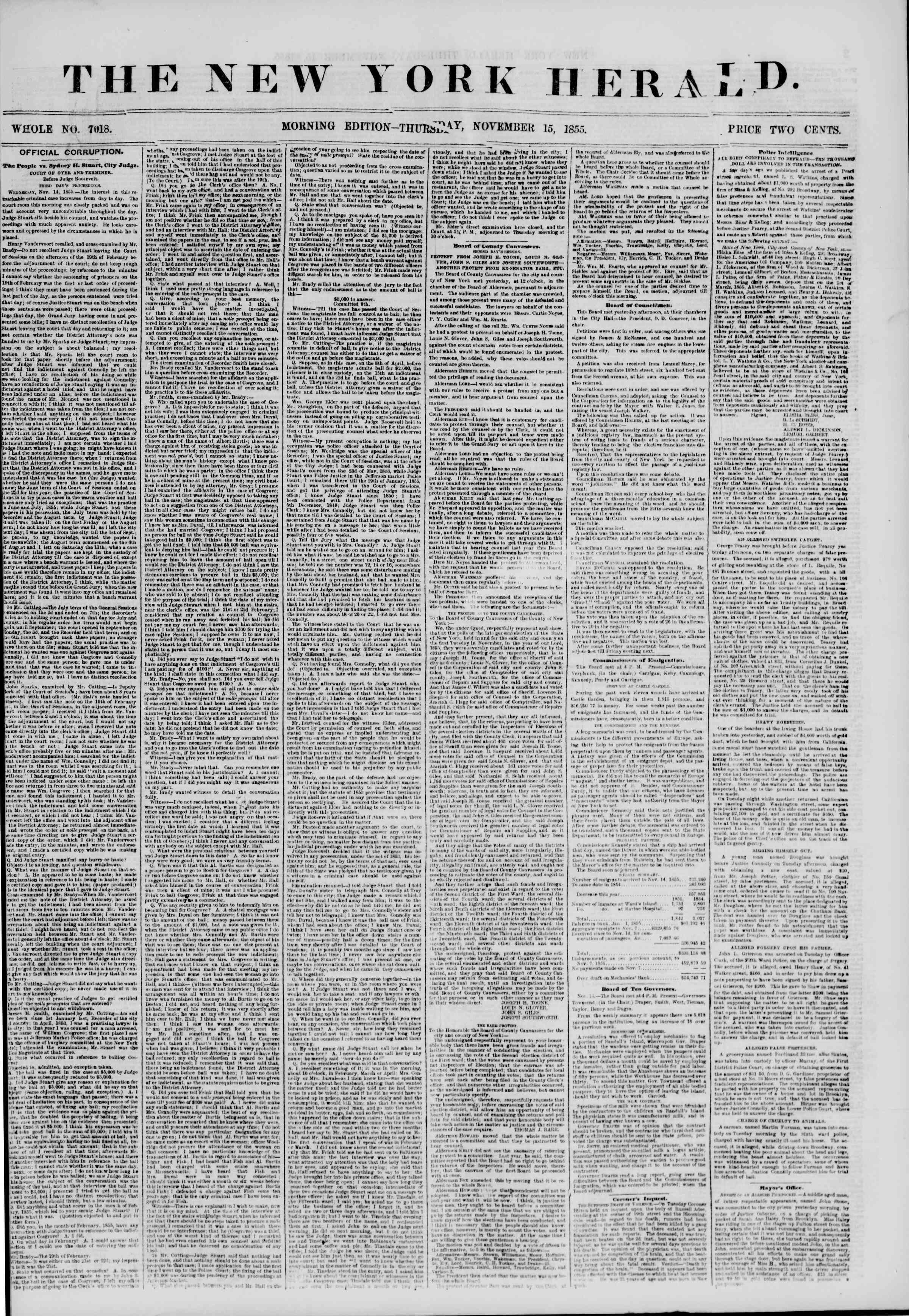 Newspaper of The New York Herald dated November 15, 1855 Page 1
