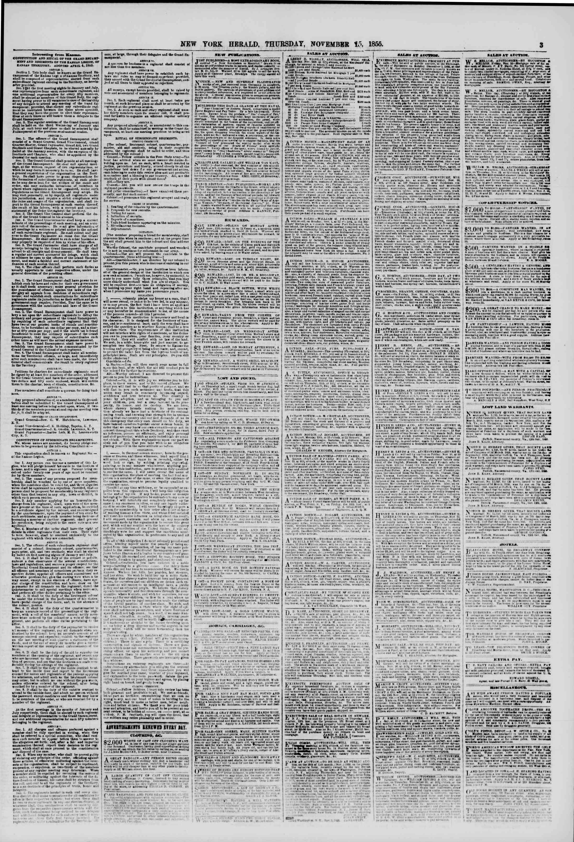 Newspaper of The New York Herald dated November 15, 1855 Page 3