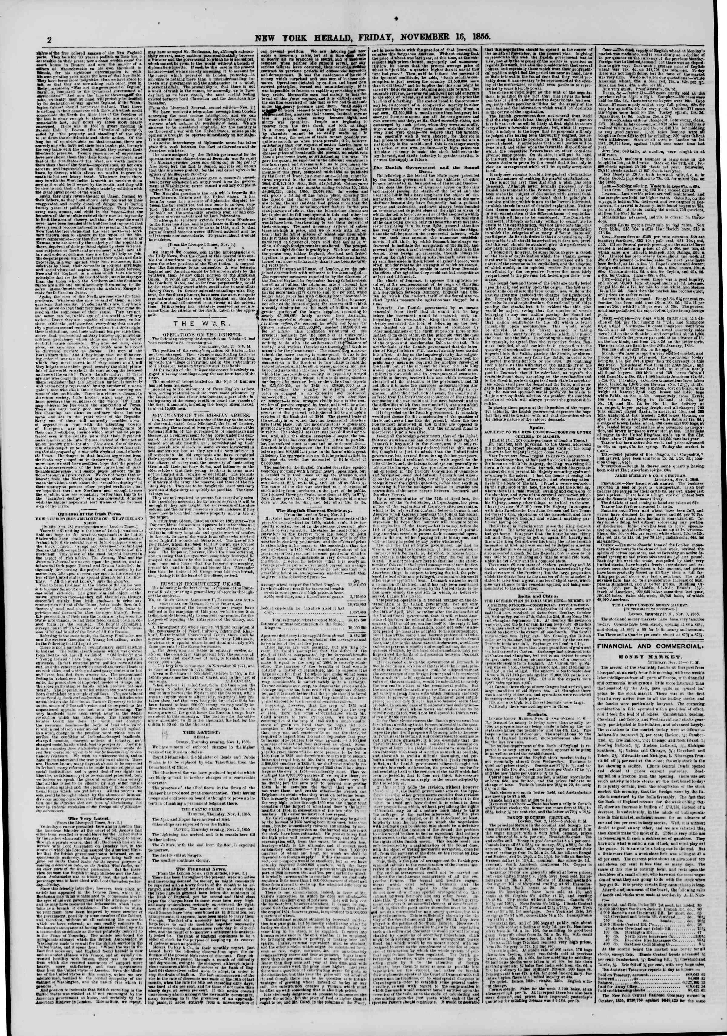 Newspaper of The New York Herald dated November 16, 1855 Page 2
