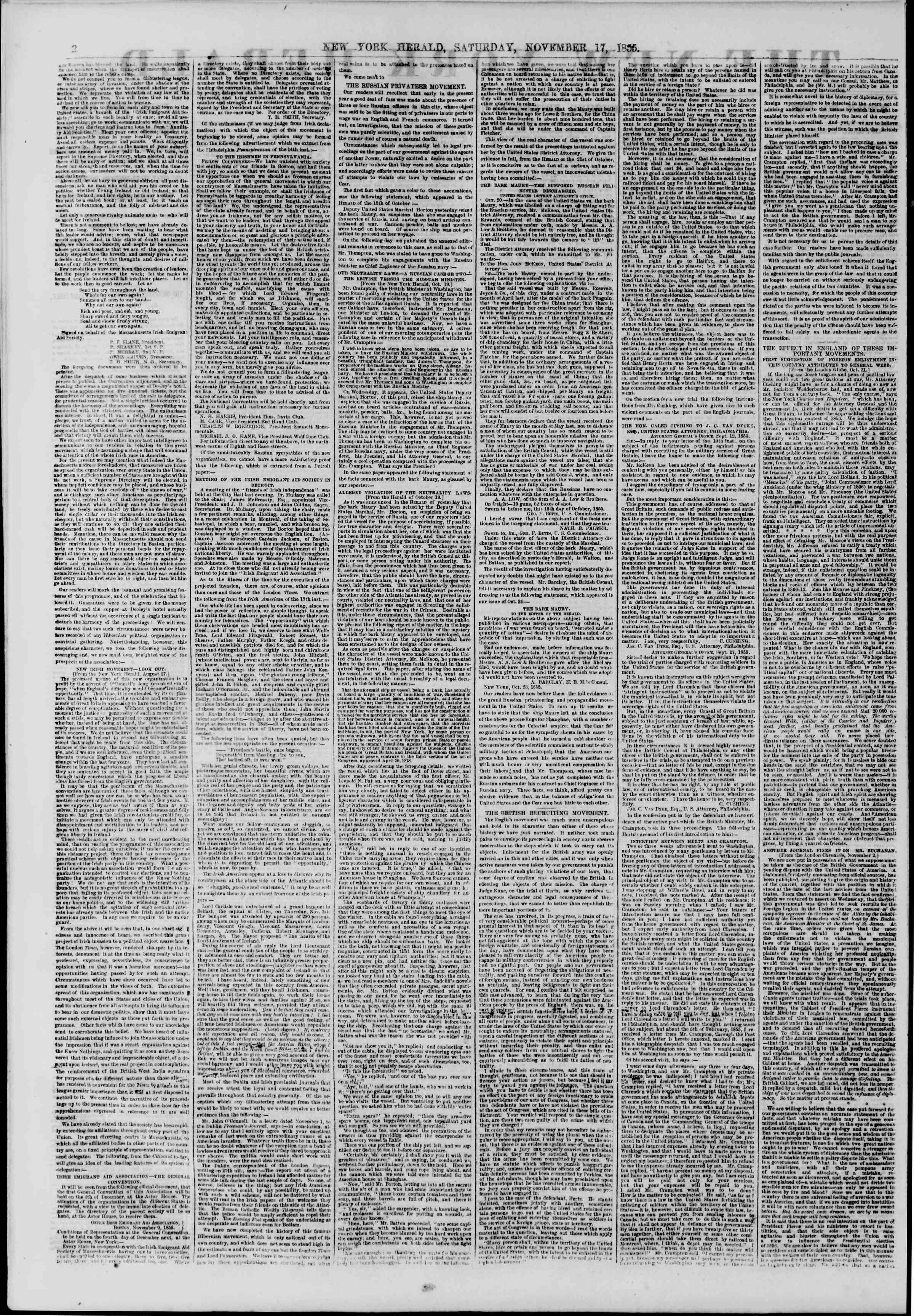 Newspaper of The New York Herald dated November 17, 1855 Page 2