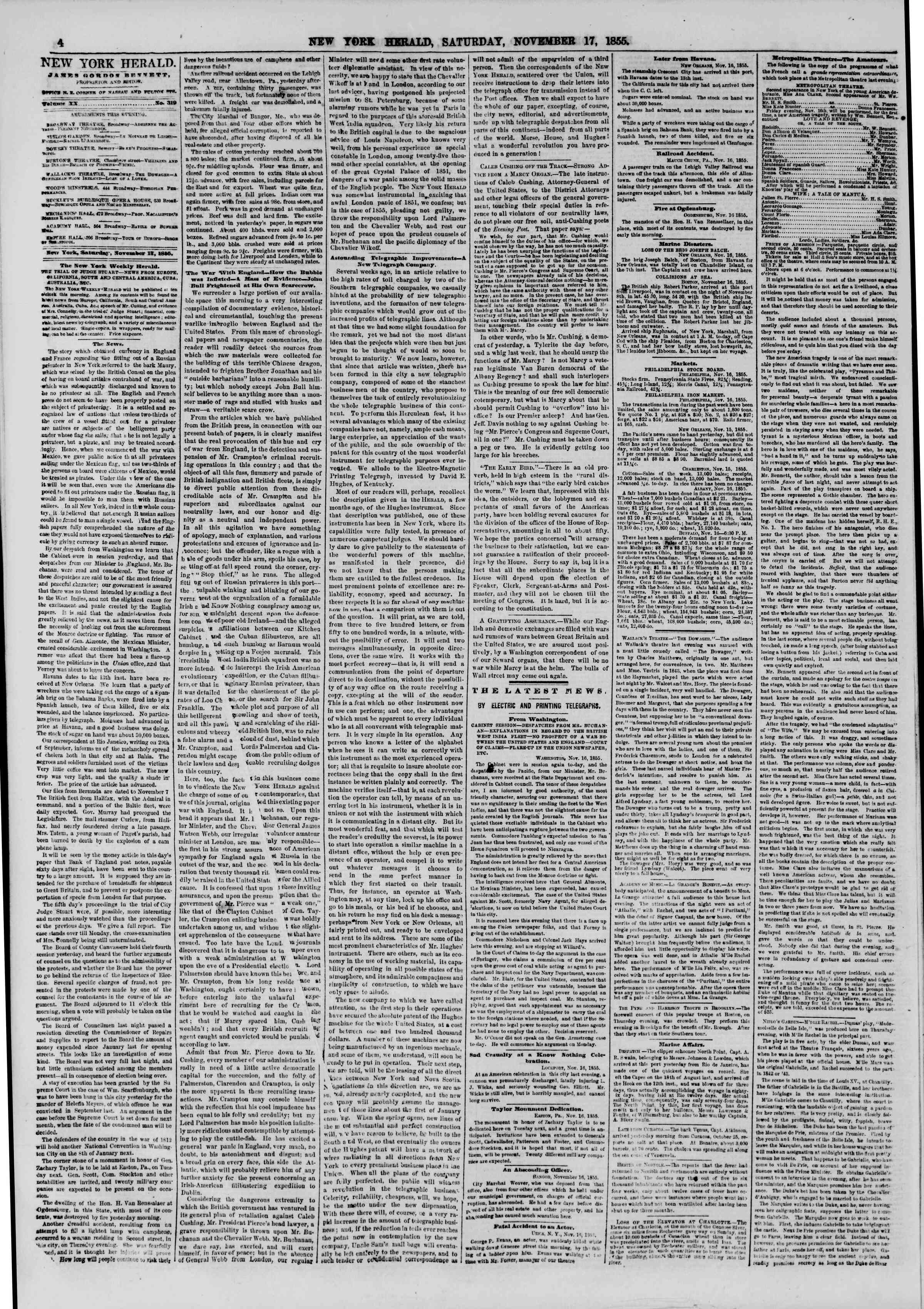 Newspaper of The New York Herald dated November 17, 1855 Page 4