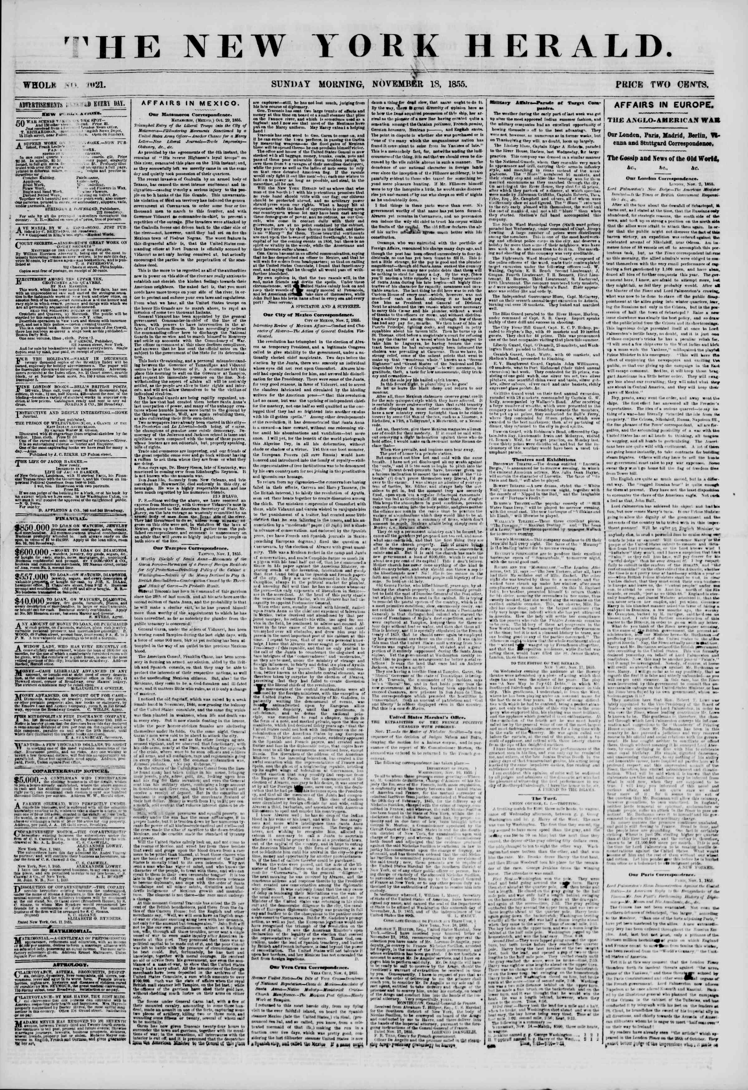 18 Kasım 1855 tarihli The New York Herald Gazetesi Sayfa 1
