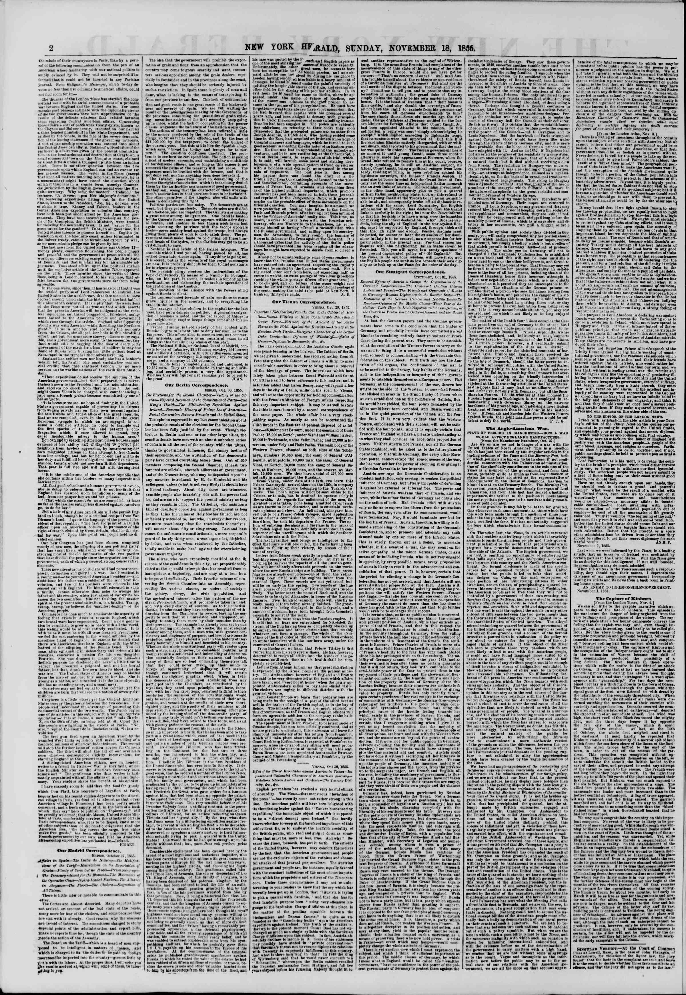 Newspaper of The New York Herald dated November 18, 1855 Page 2