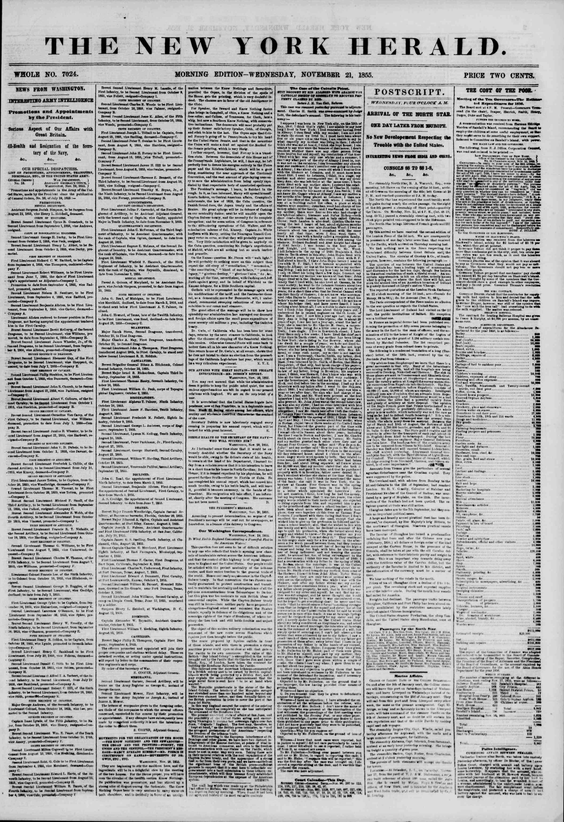 Newspaper of The New York Herald dated November 21, 1855 Page 1