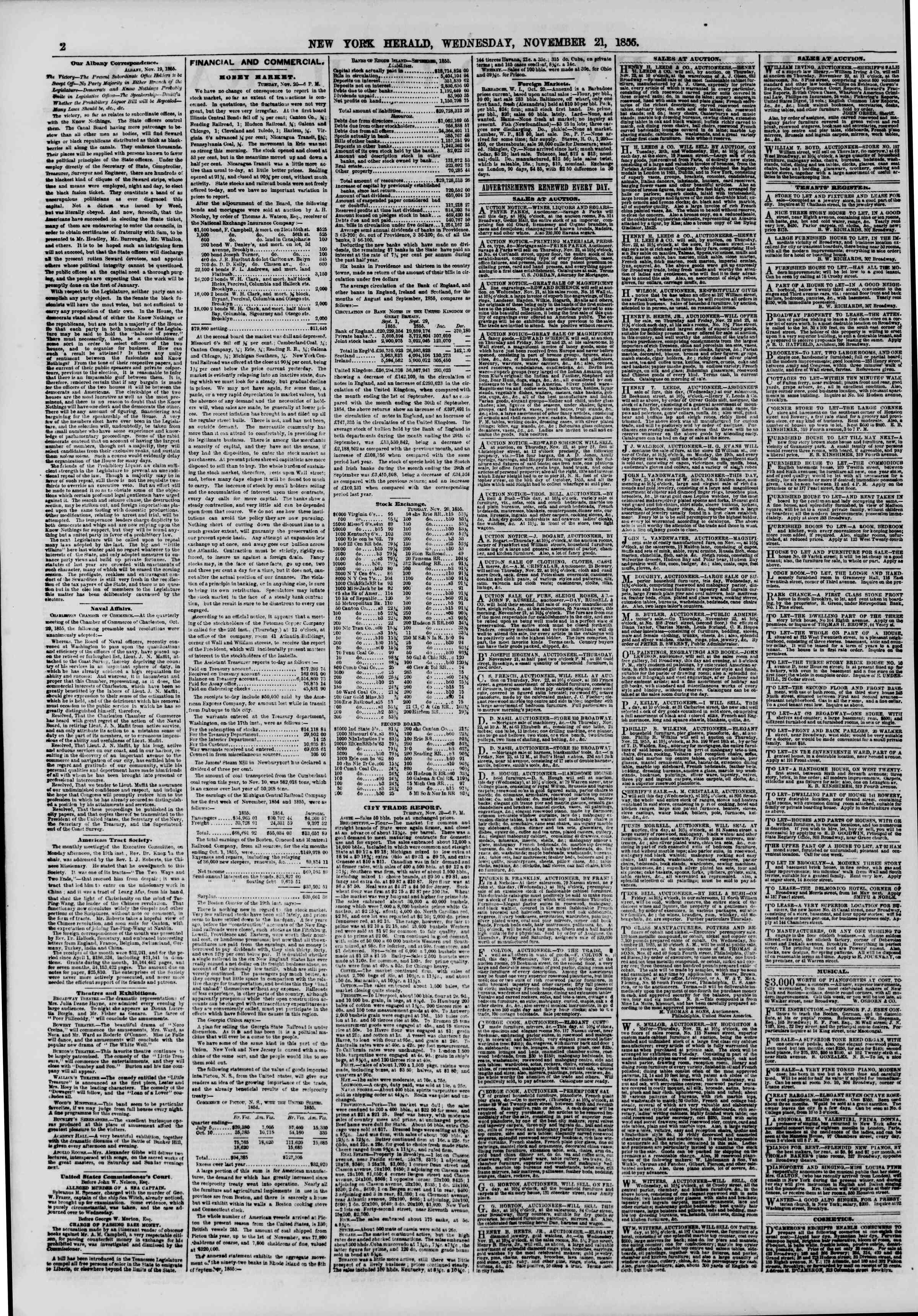 Newspaper of The New York Herald dated November 21, 1855 Page 2
