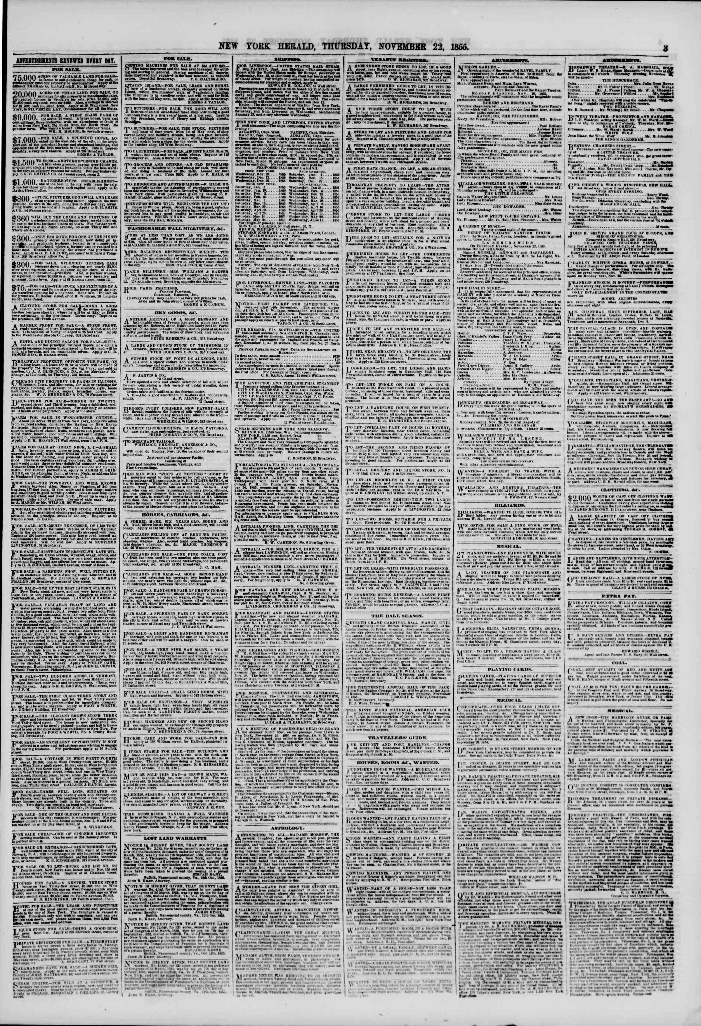 Newspaper of The New York Herald dated November 22, 1855 Page 3