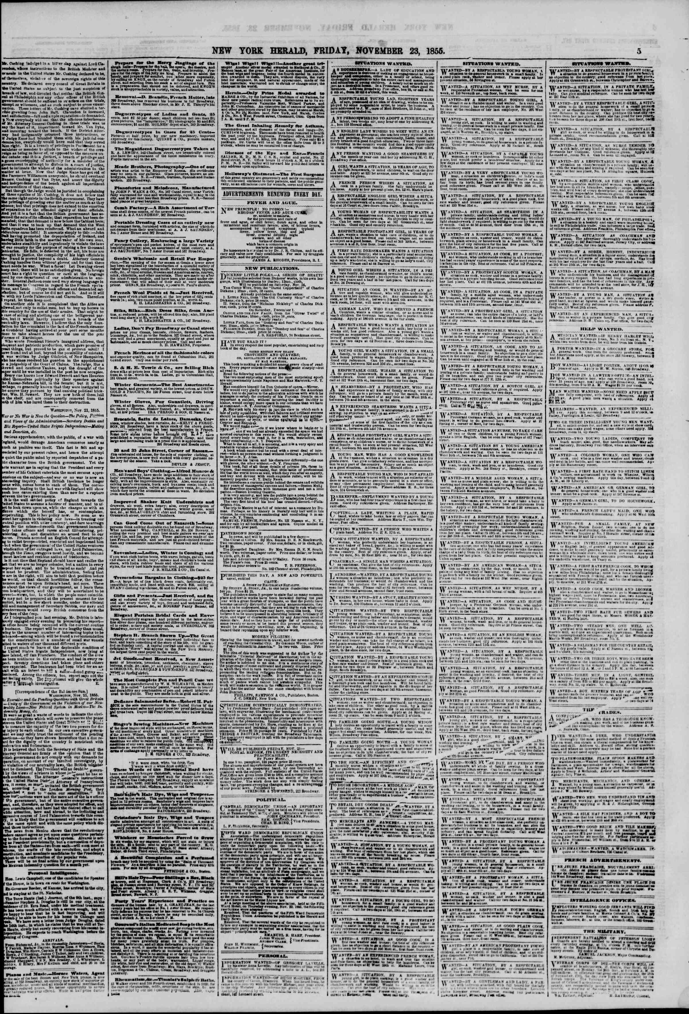Newspaper of The New York Herald dated November 23, 1855 Page 5