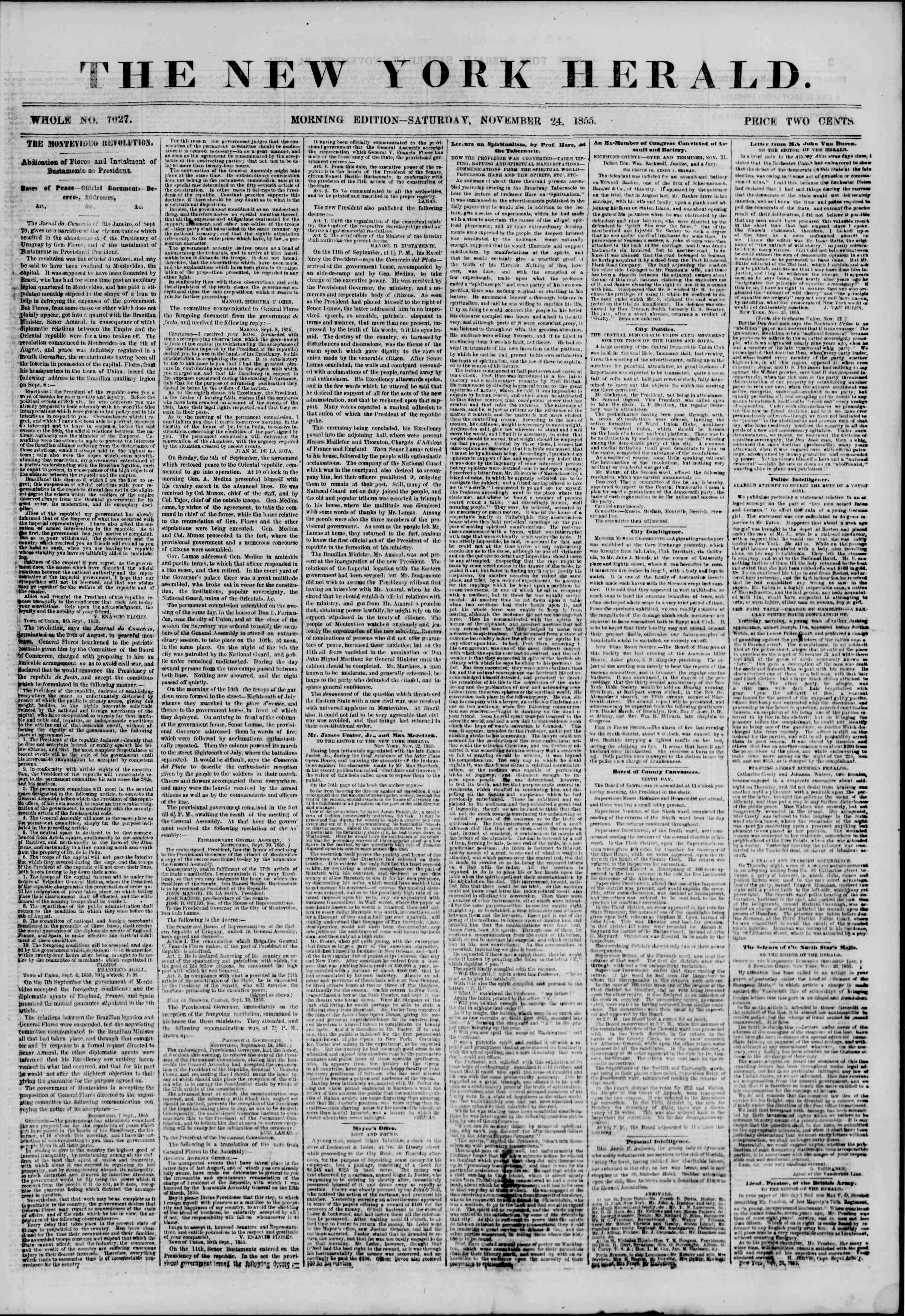 Newspaper of The New York Herald dated November 24, 1855 Page 1