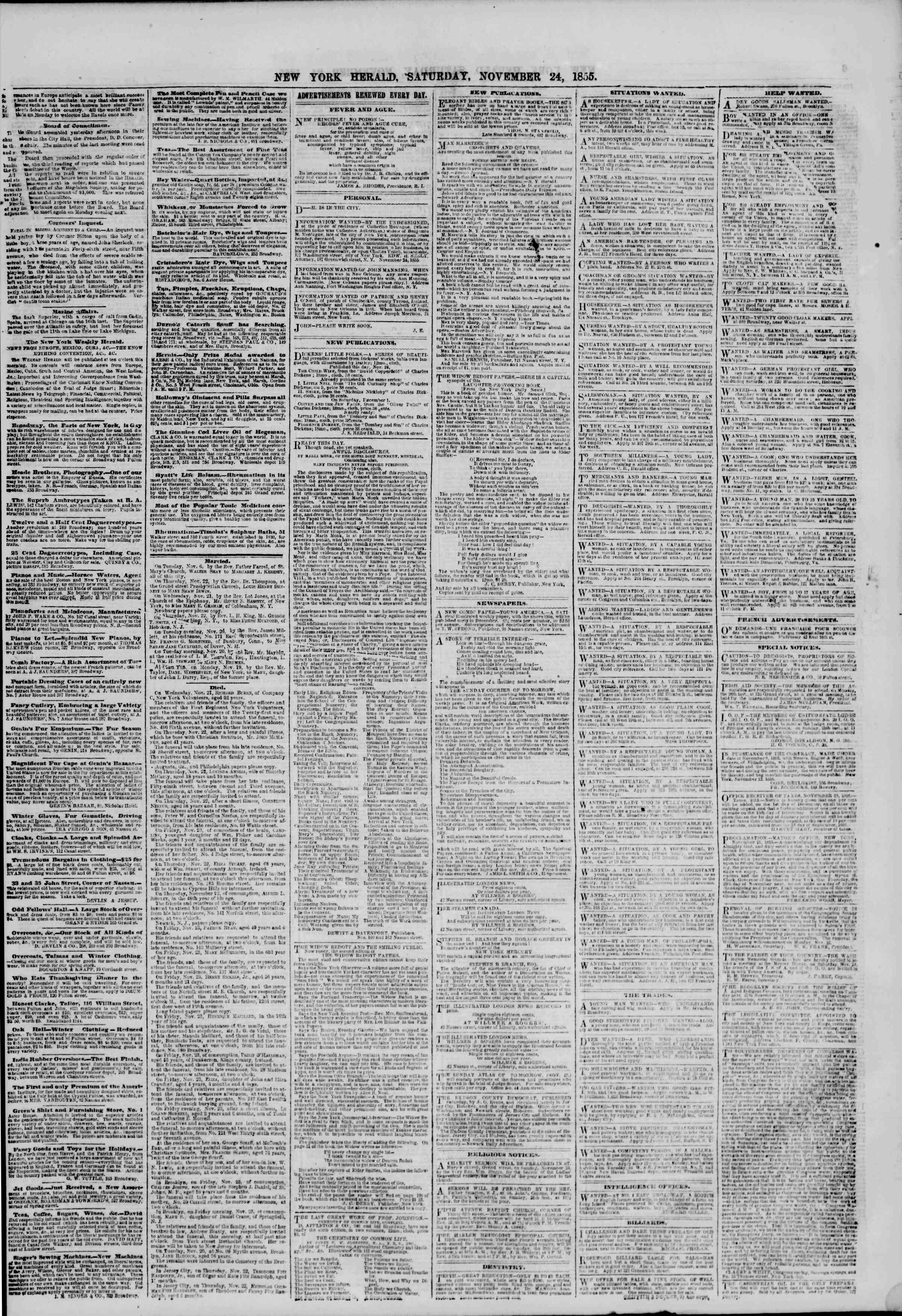 Newspaper of The New York Herald dated November 24, 1855 Page 5