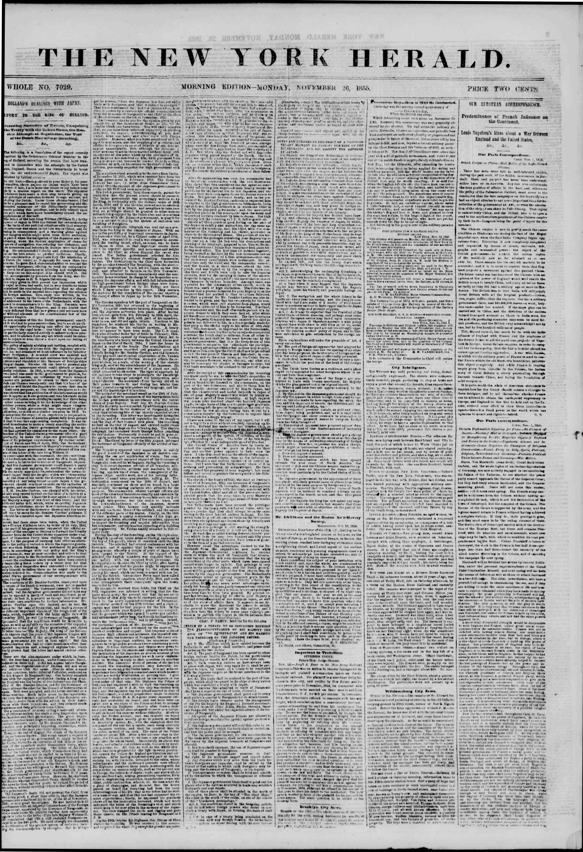 Newspaper of The New York Herald dated November 26, 1855 Page 1