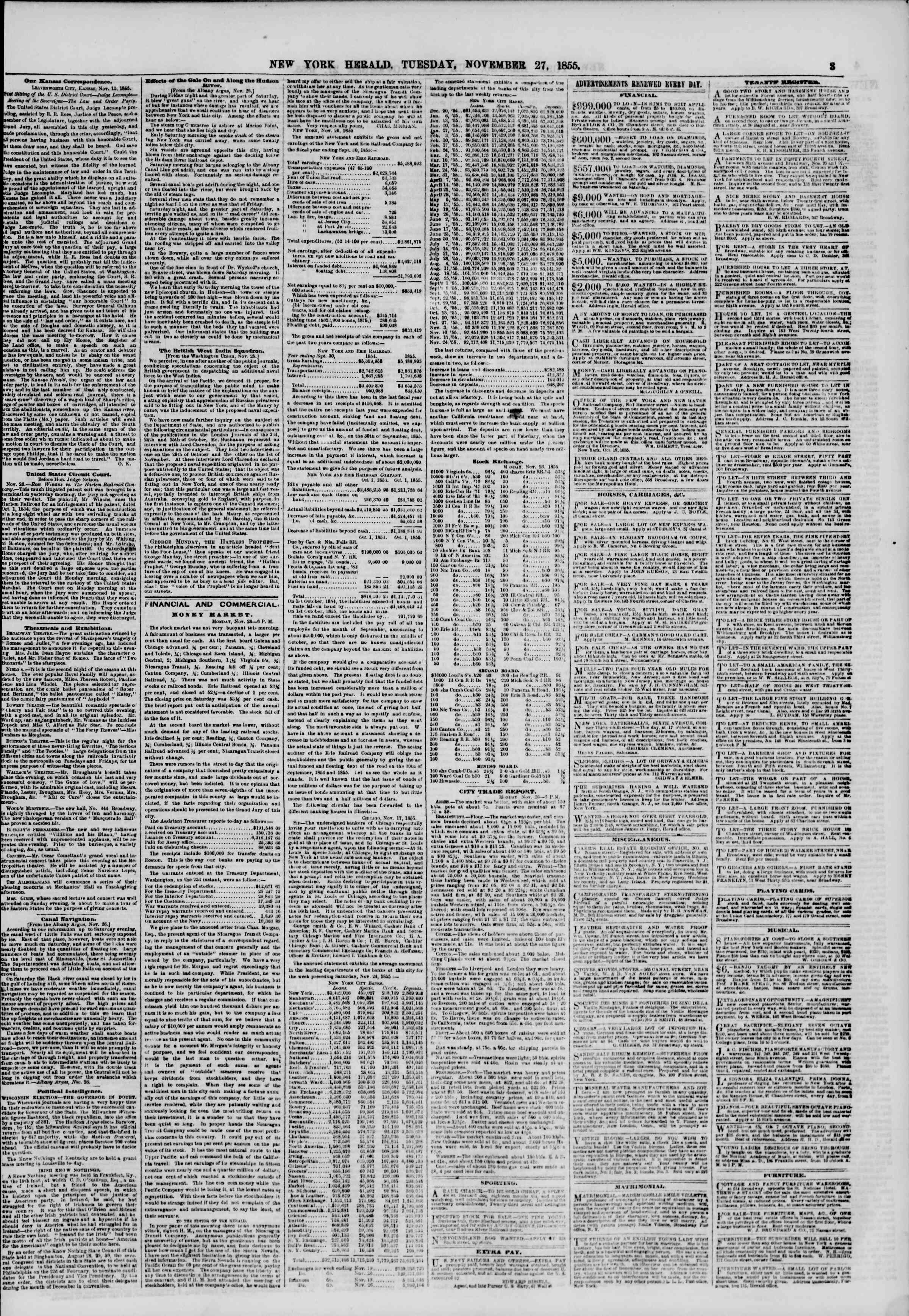 Newspaper of The New York Herald dated November 27, 1855 Page 3