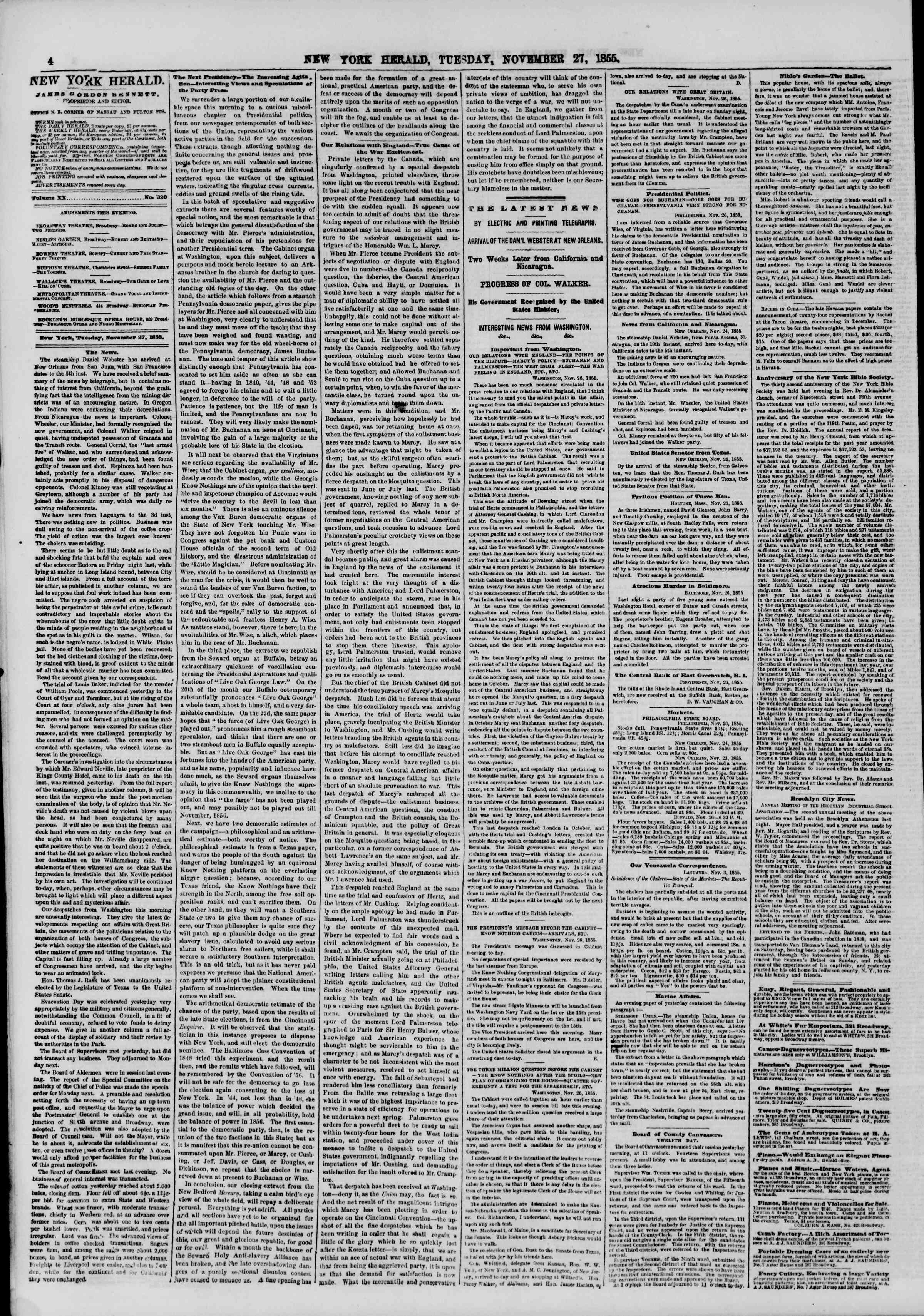 Newspaper of The New York Herald dated November 27, 1855 Page 4