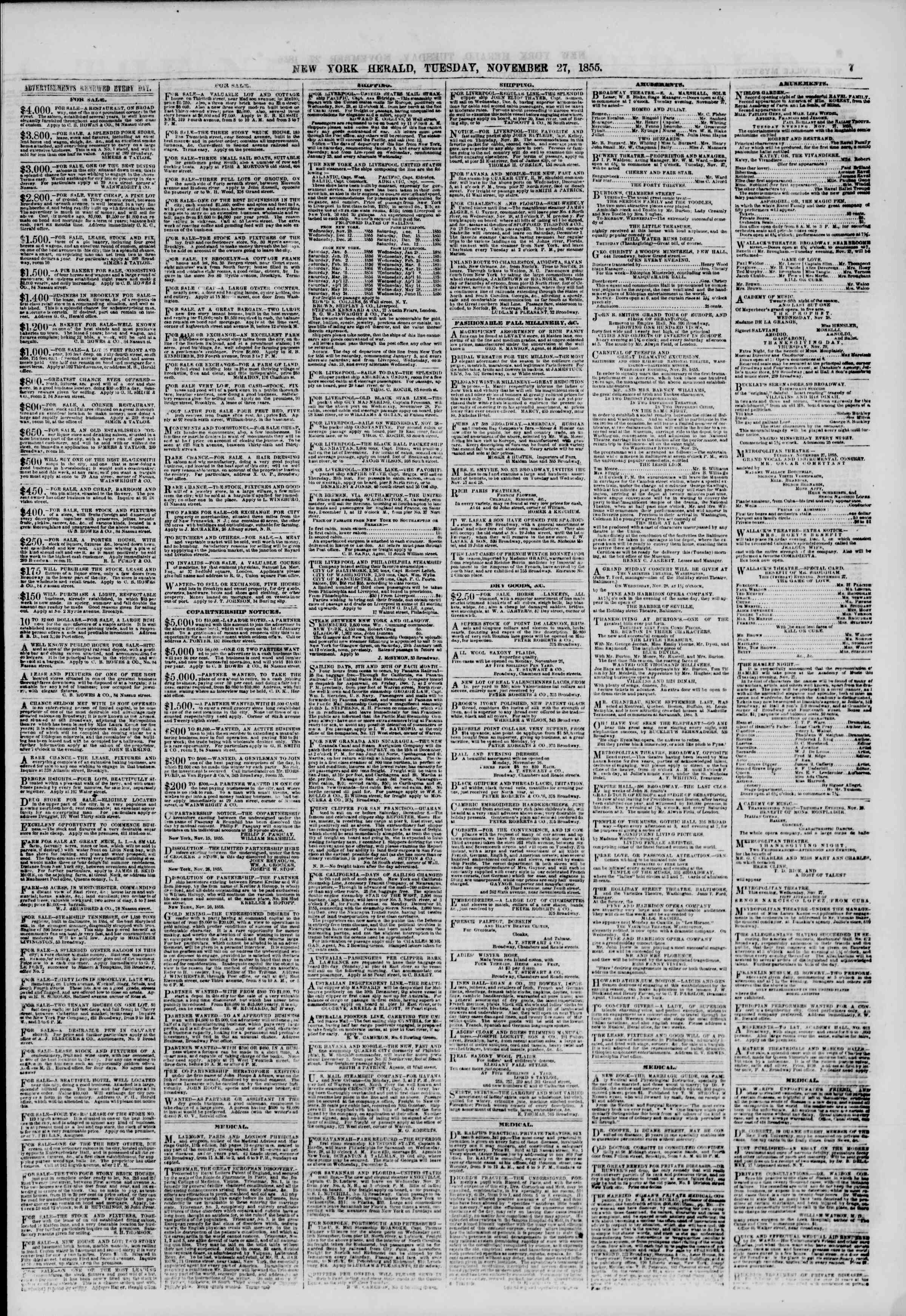 Newspaper of The New York Herald dated November 27, 1855 Page 7