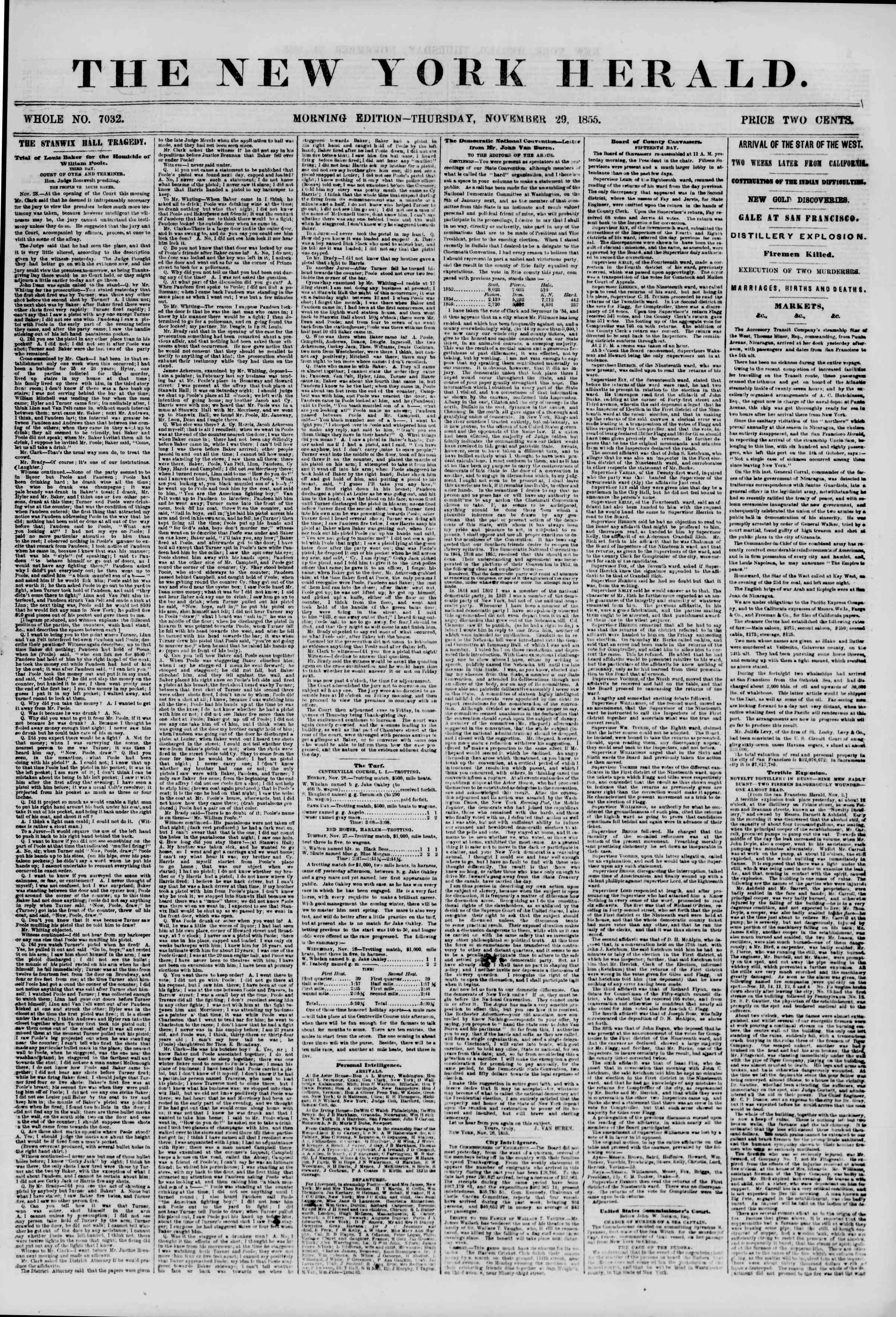 Newspaper of The New York Herald dated November 29, 1855 Page 1