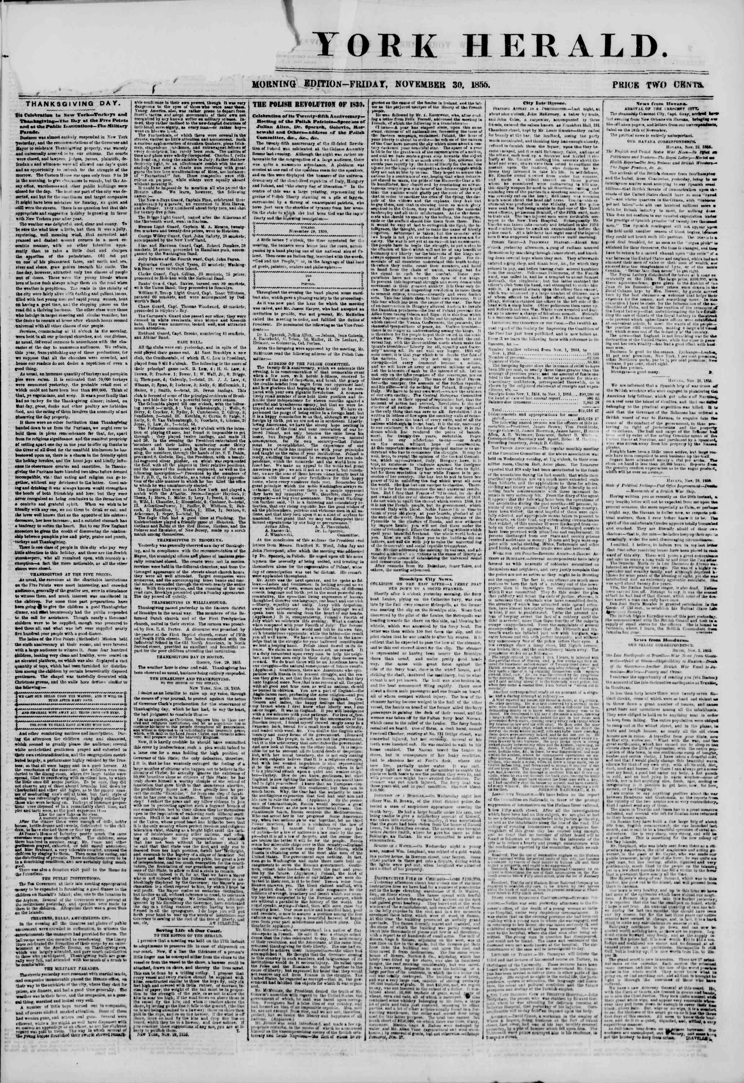 Newspaper of The New York Herald dated November 30, 1855 Page 1