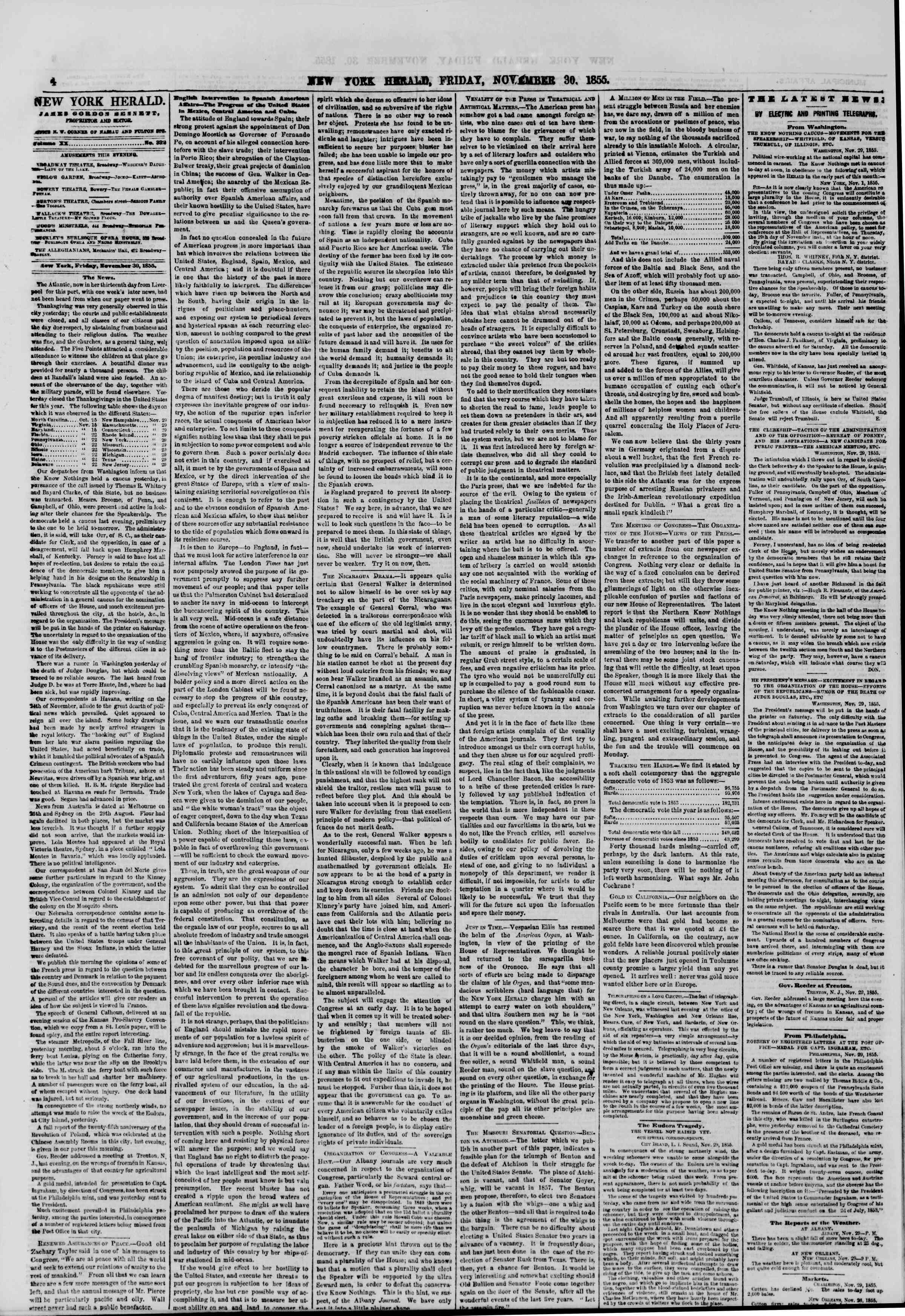 Newspaper of The New York Herald dated November 30, 1855 Page 4