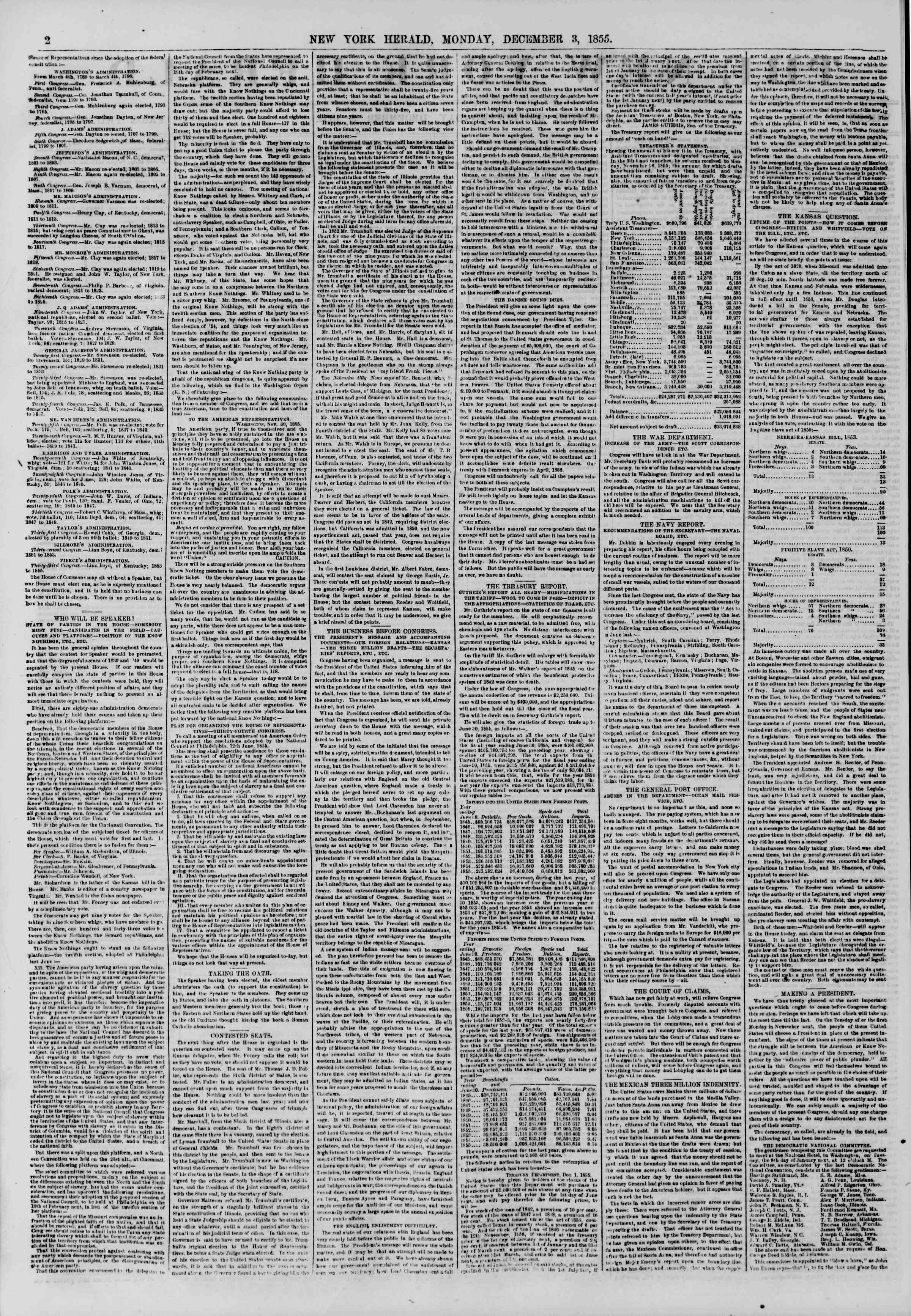 Newspaper of The New York Herald dated December 3, 1855 Page 2