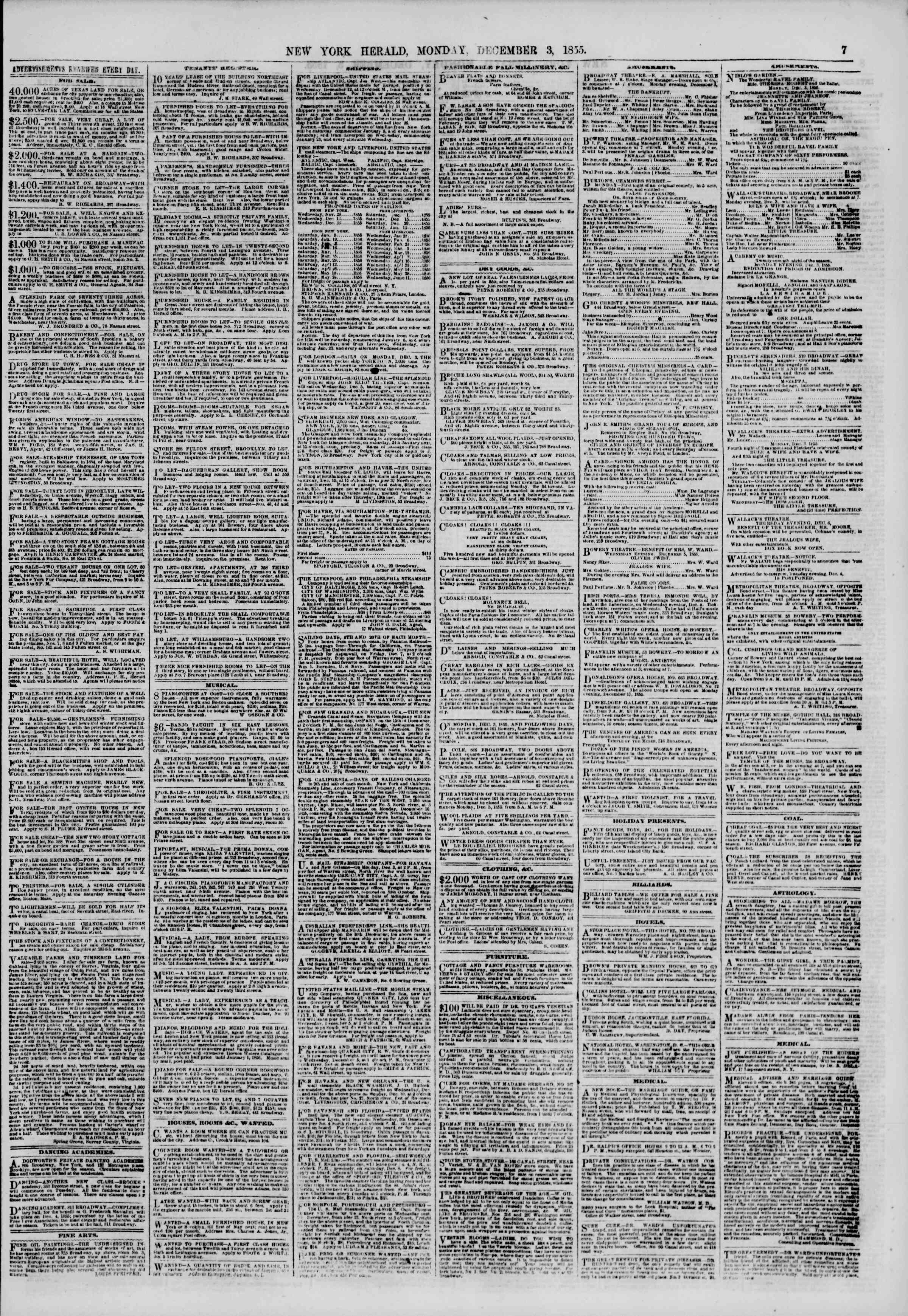 Newspaper of The New York Herald dated December 3, 1855 Page 7