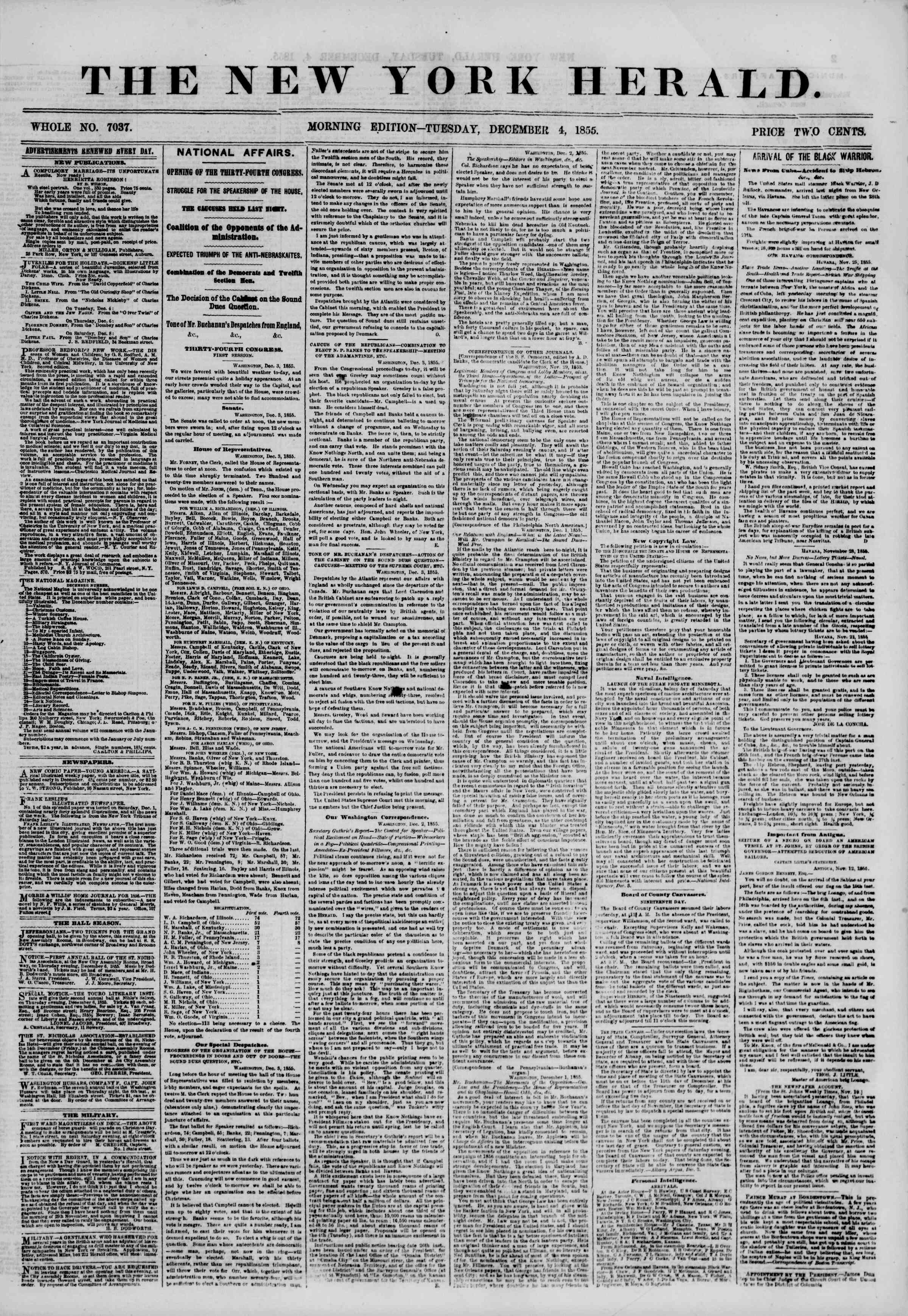 Newspaper of The New York Herald dated December 4, 1855 Page 1