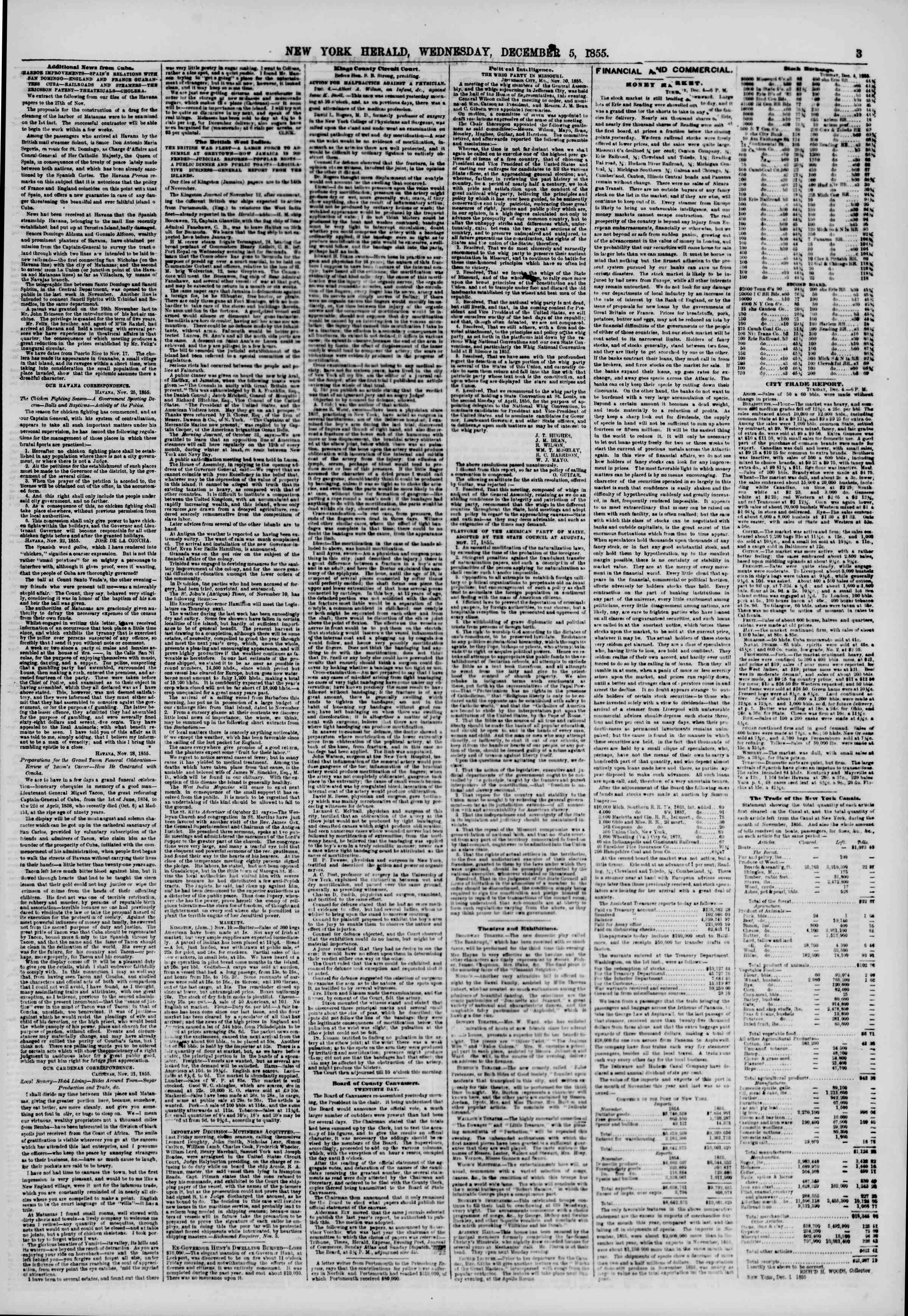 Newspaper of The New York Herald dated December 5, 1855 Page 3