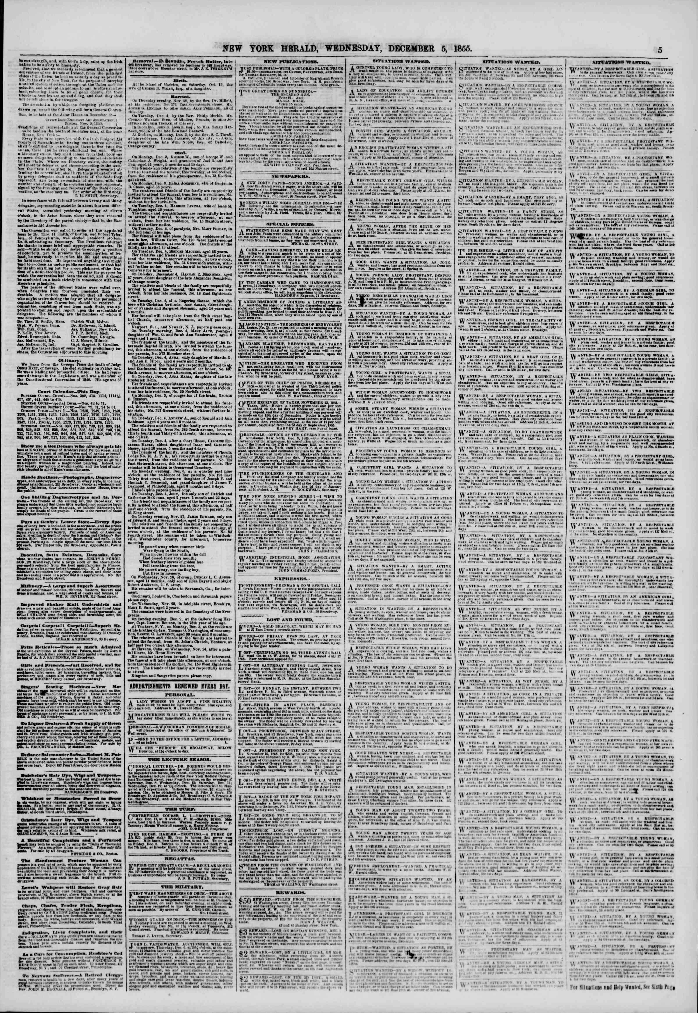 Newspaper of The New York Herald dated December 5, 1855 Page 5