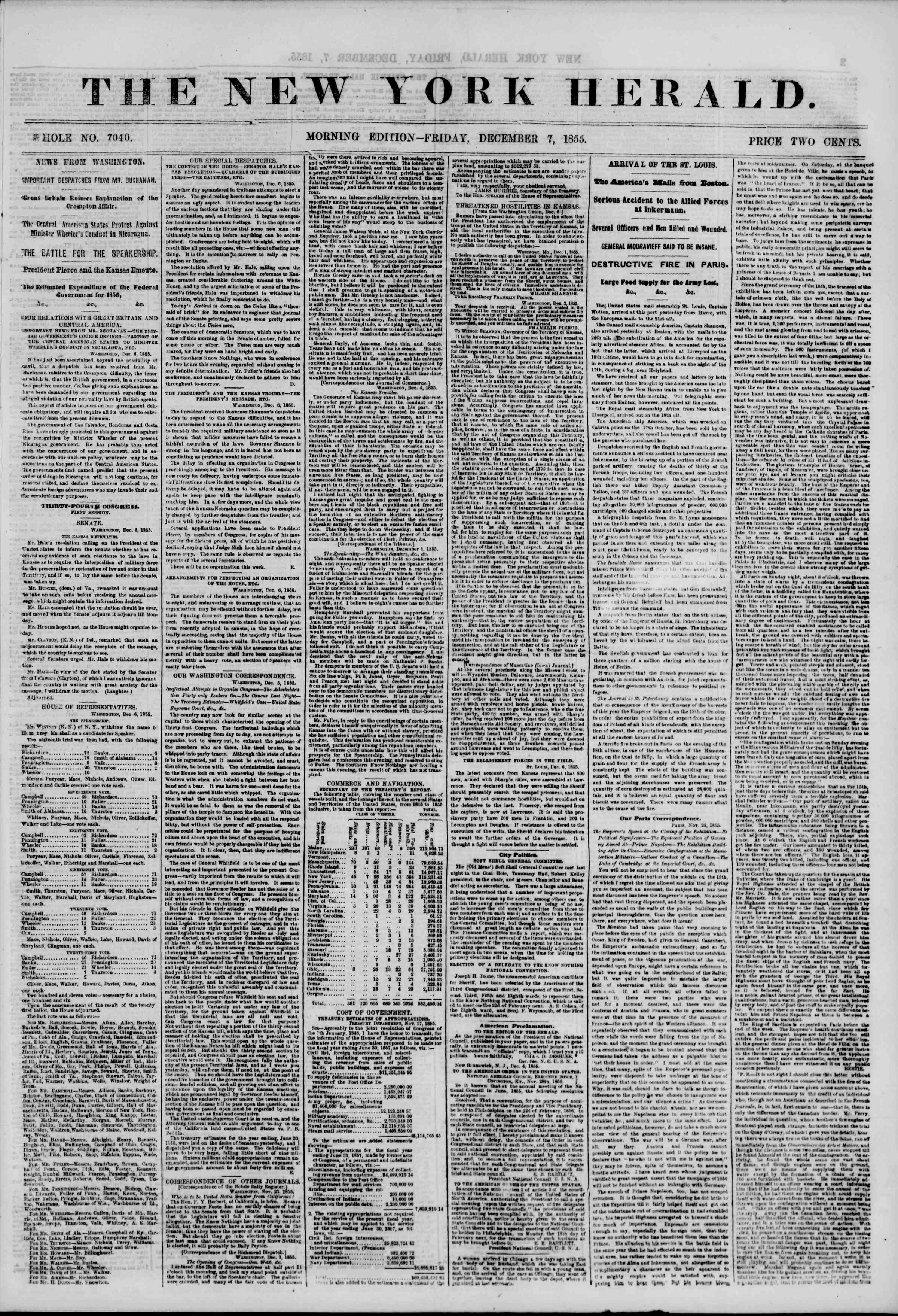Newspaper of The New York Herald dated December 7, 1855 Page 1