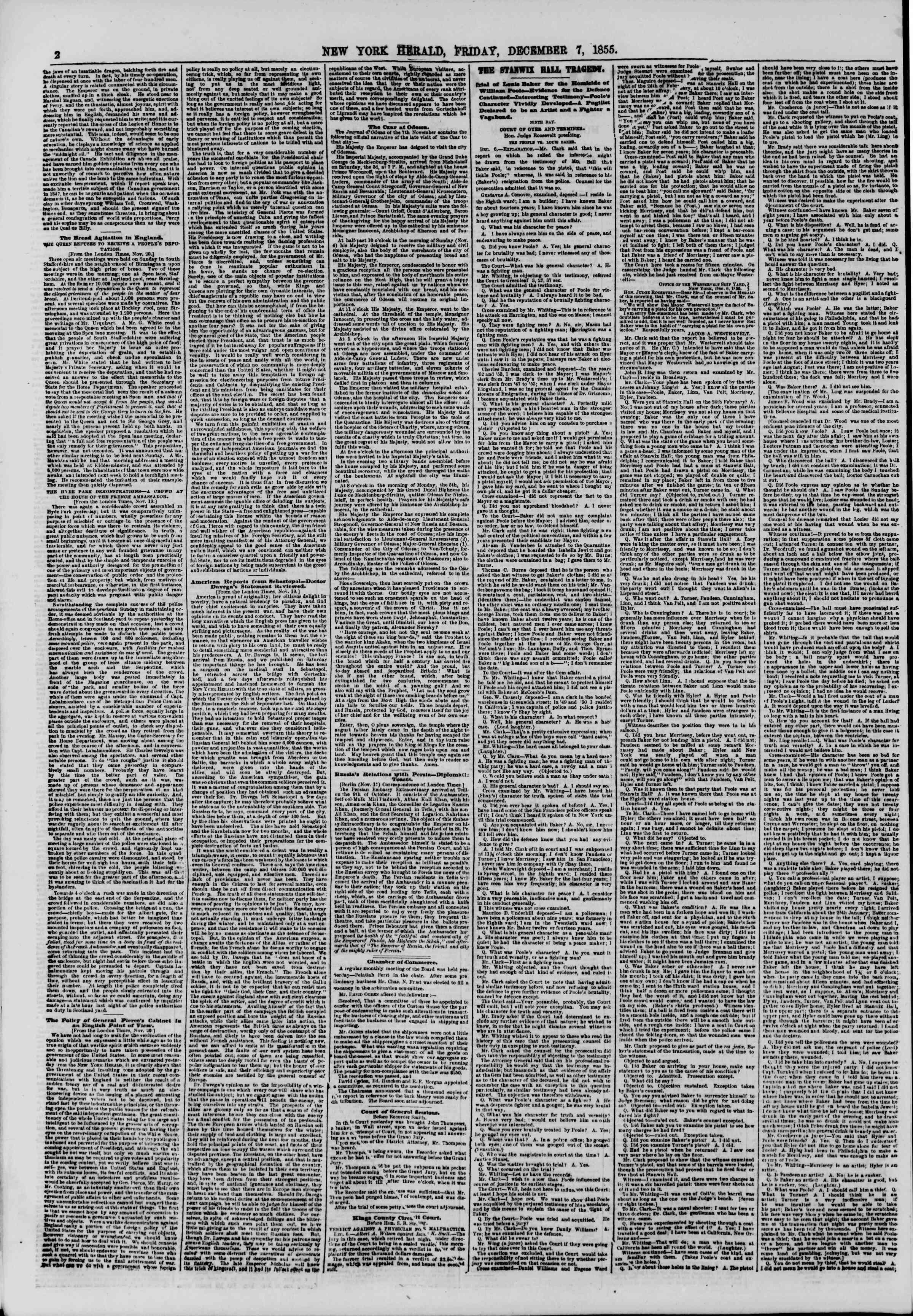 7 Aralık 1855 tarihli The New York Herald Gazetesi Sayfa 2