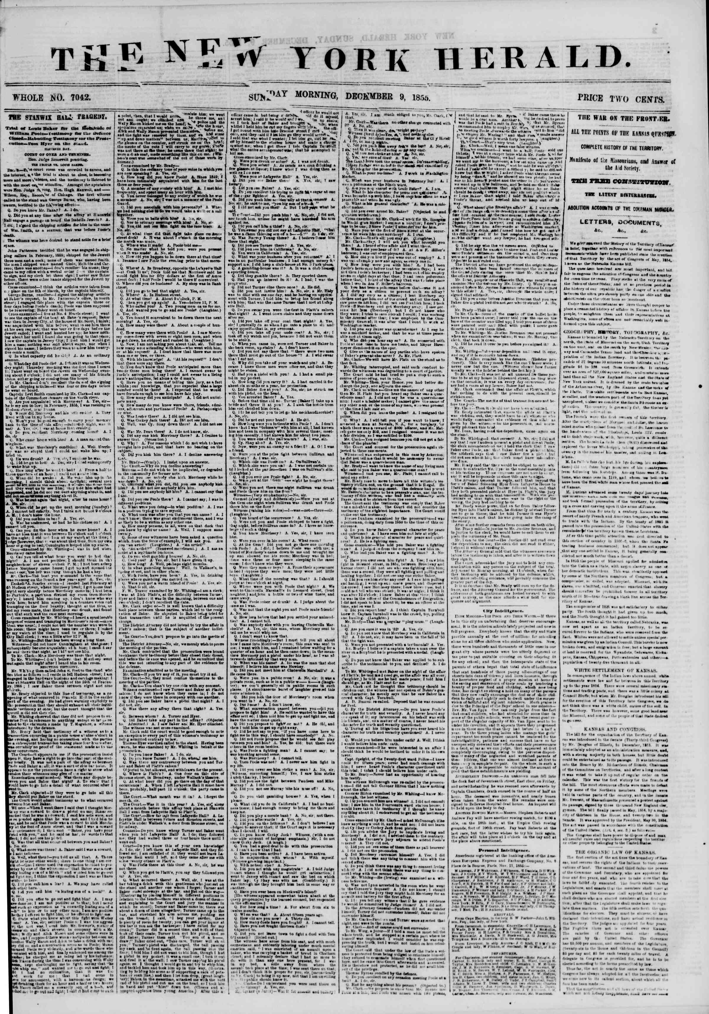 Newspaper of The New York Herald dated December 9, 1855 Page 1