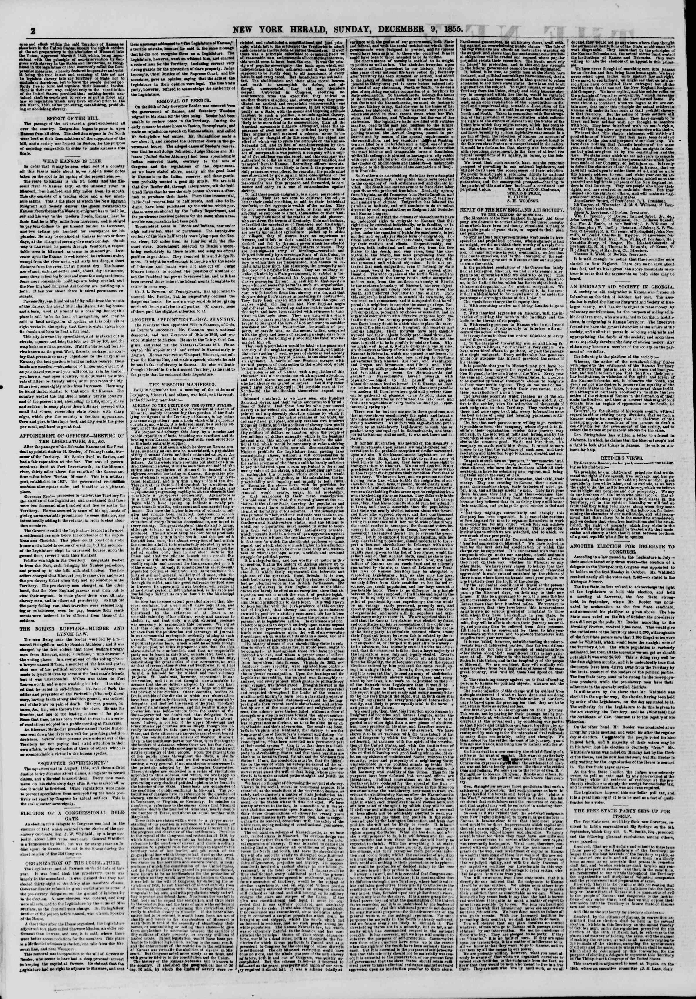 Newspaper of The New York Herald dated December 9, 1855 Page 2
