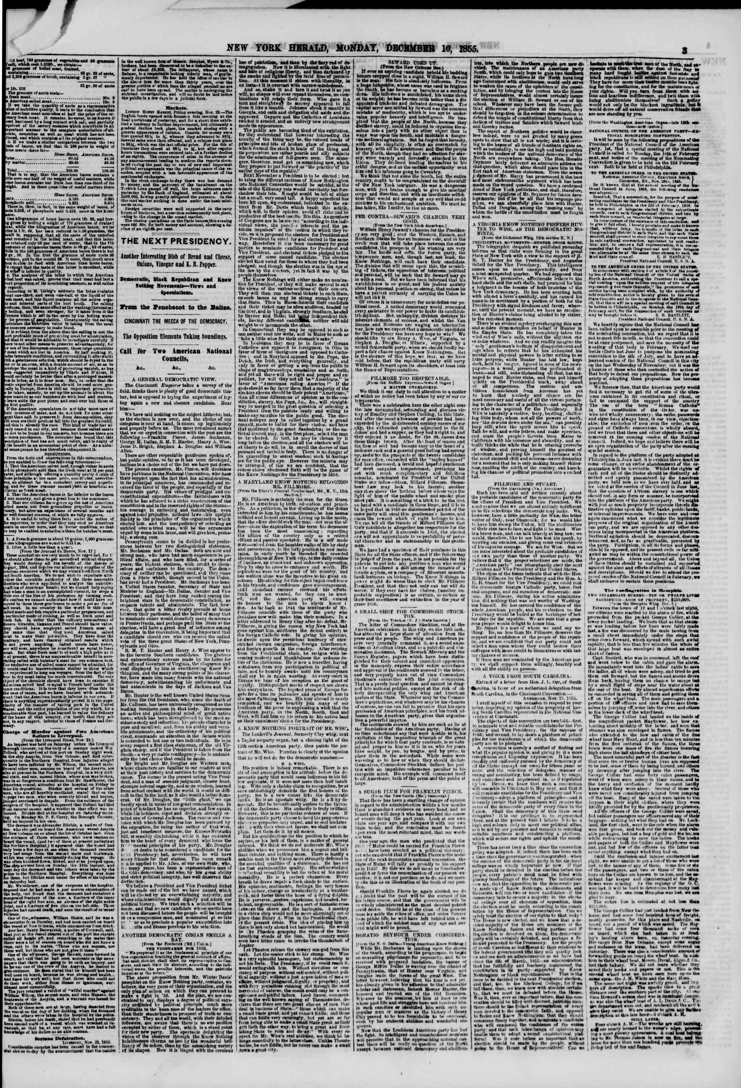 Newspaper of The New York Herald dated December 10, 1855 Page 3