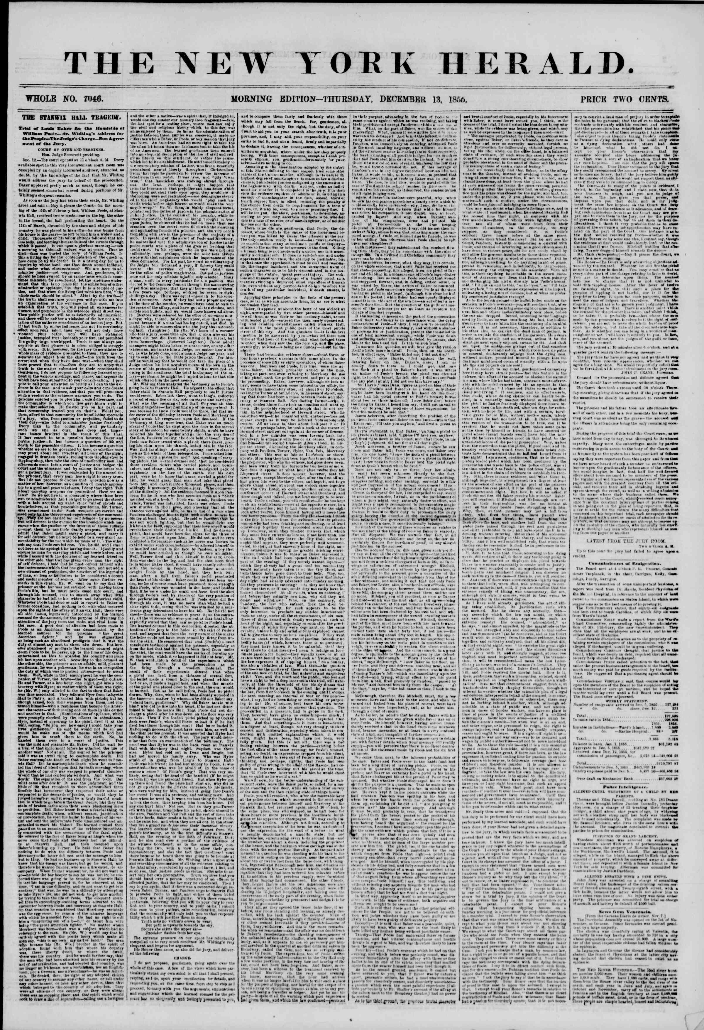 Newspaper of The New York Herald dated December 13, 1855 Page 1