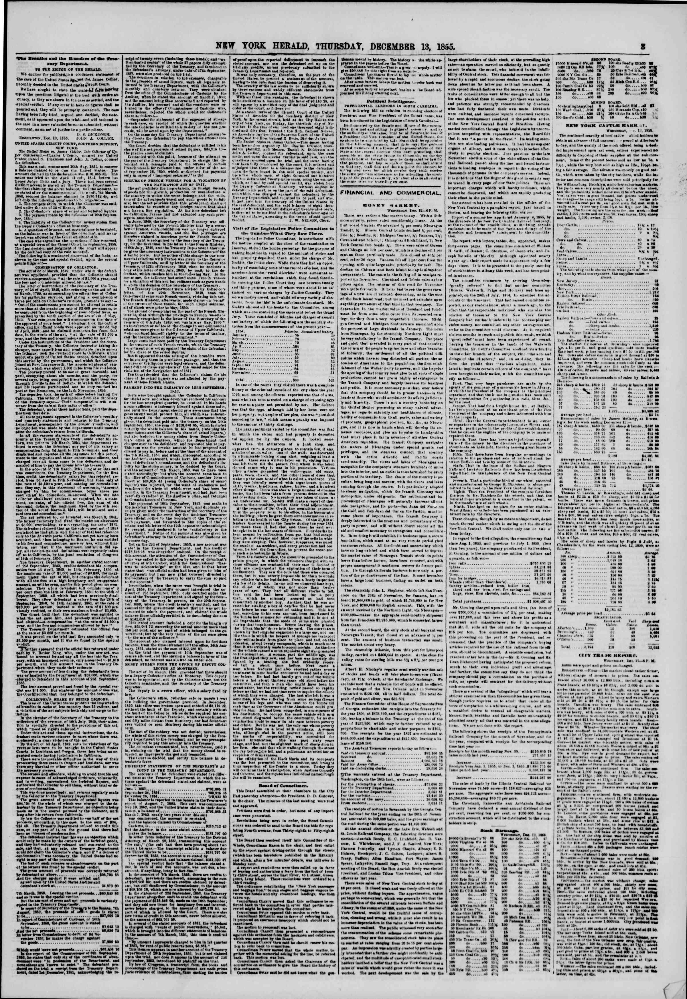 Newspaper of The New York Herald dated December 13, 1855 Page 3