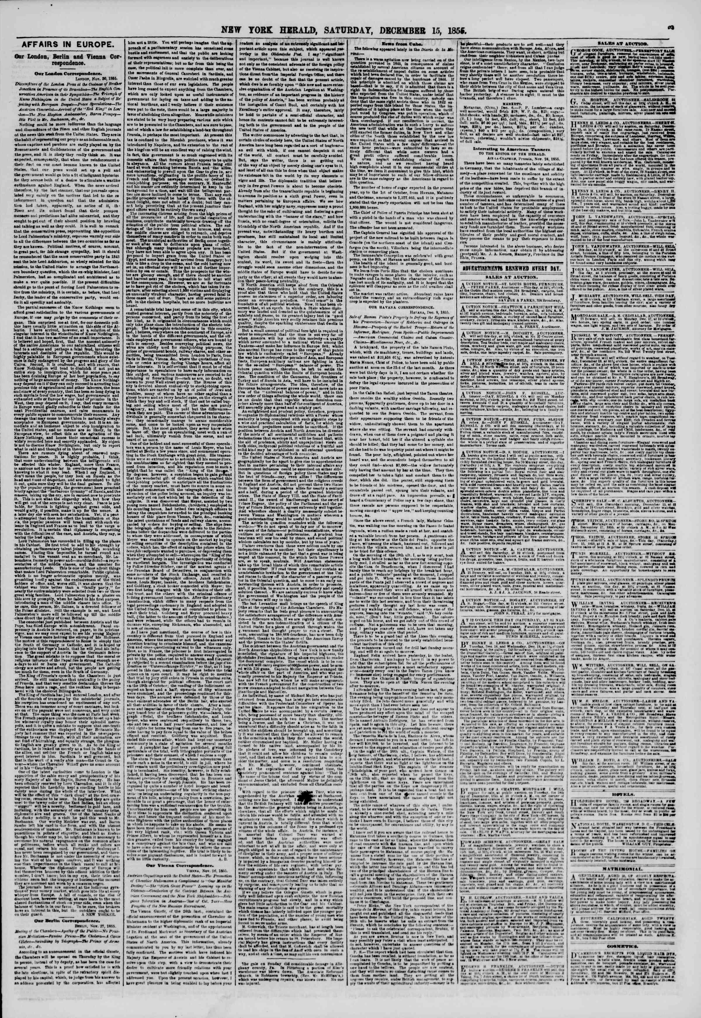 Newspaper of The New York Herald dated December 15, 1855 Page 3